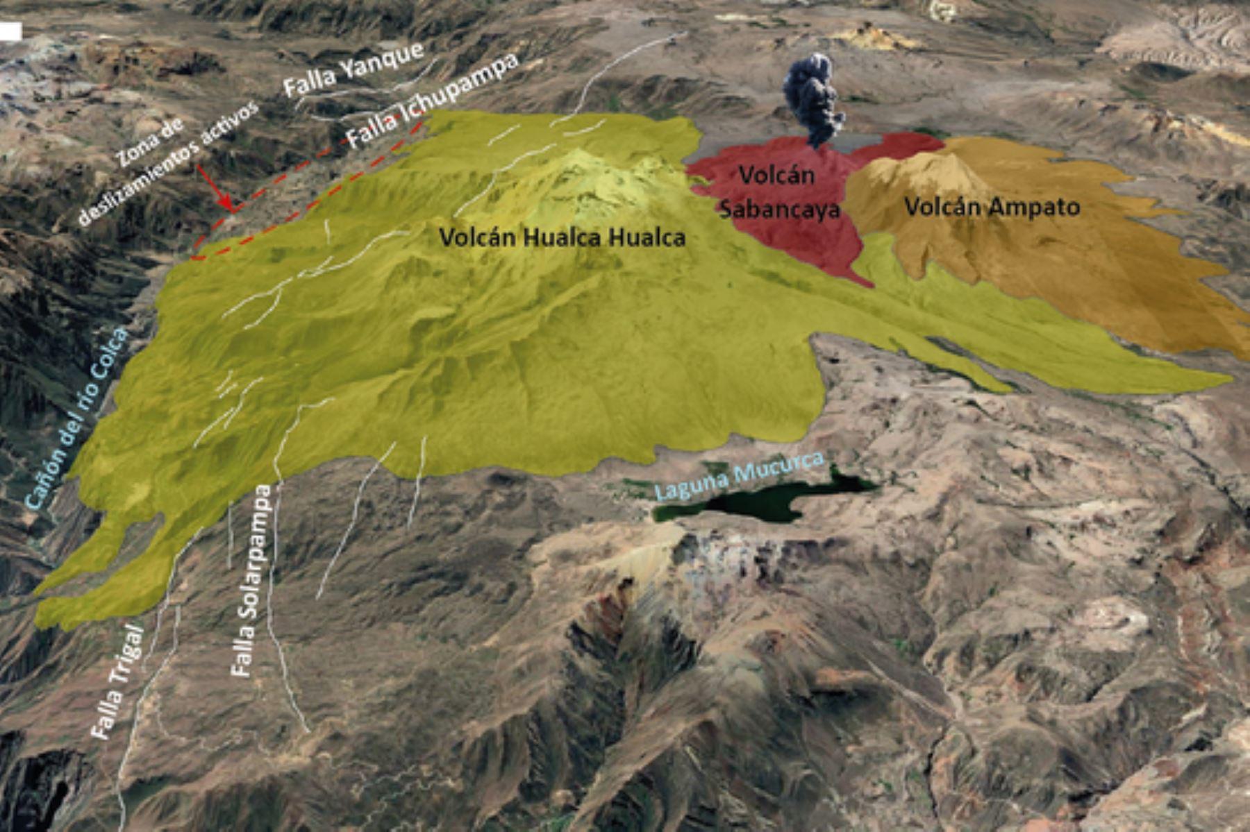 Las fallas geológicas activas controlan el emplazamiento de los volcanes Sabancaya, Ampato y Hualca Hualca. Foto: ANDINA/Ingemmet
