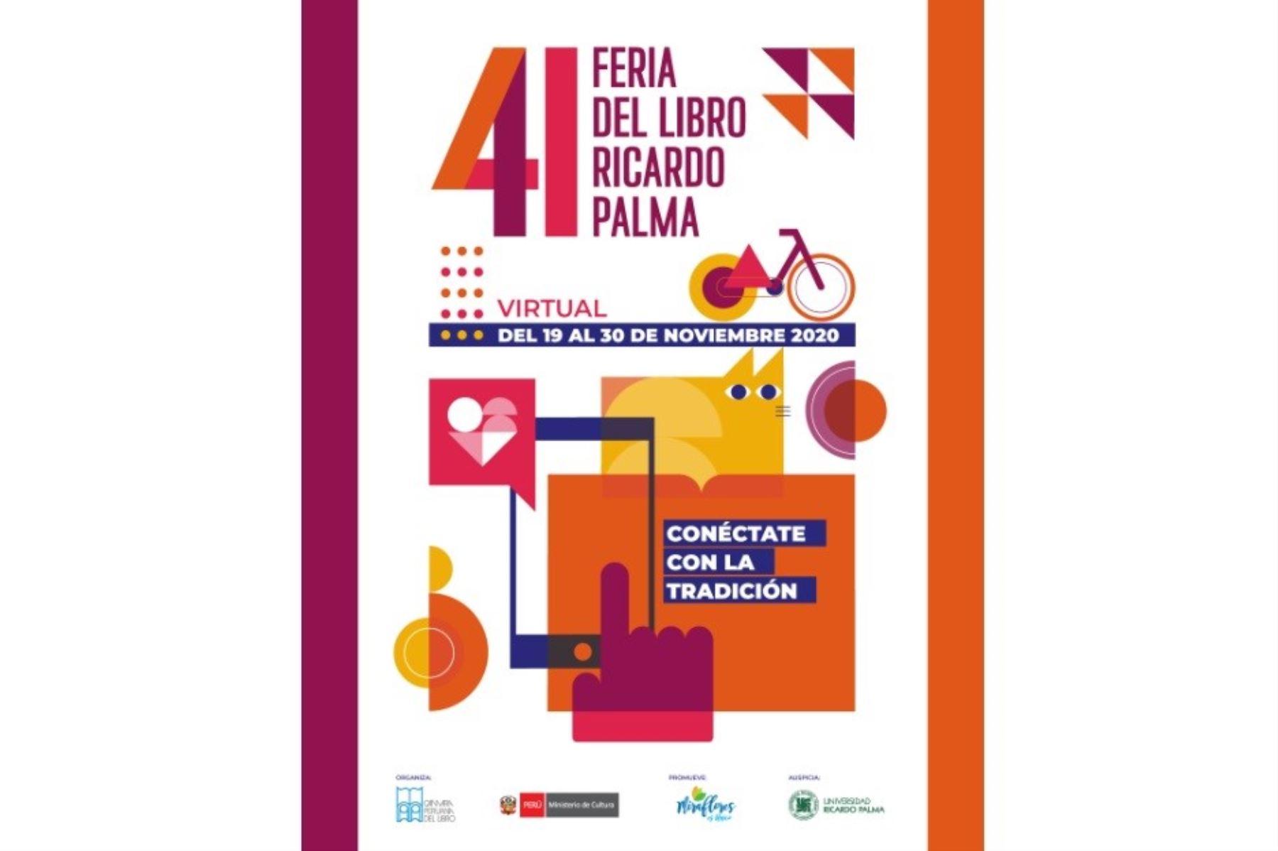 Afiche de la 41a. edición de la Feria del Libro Ricardo Palma que este año se desarrollará en formato virtual.