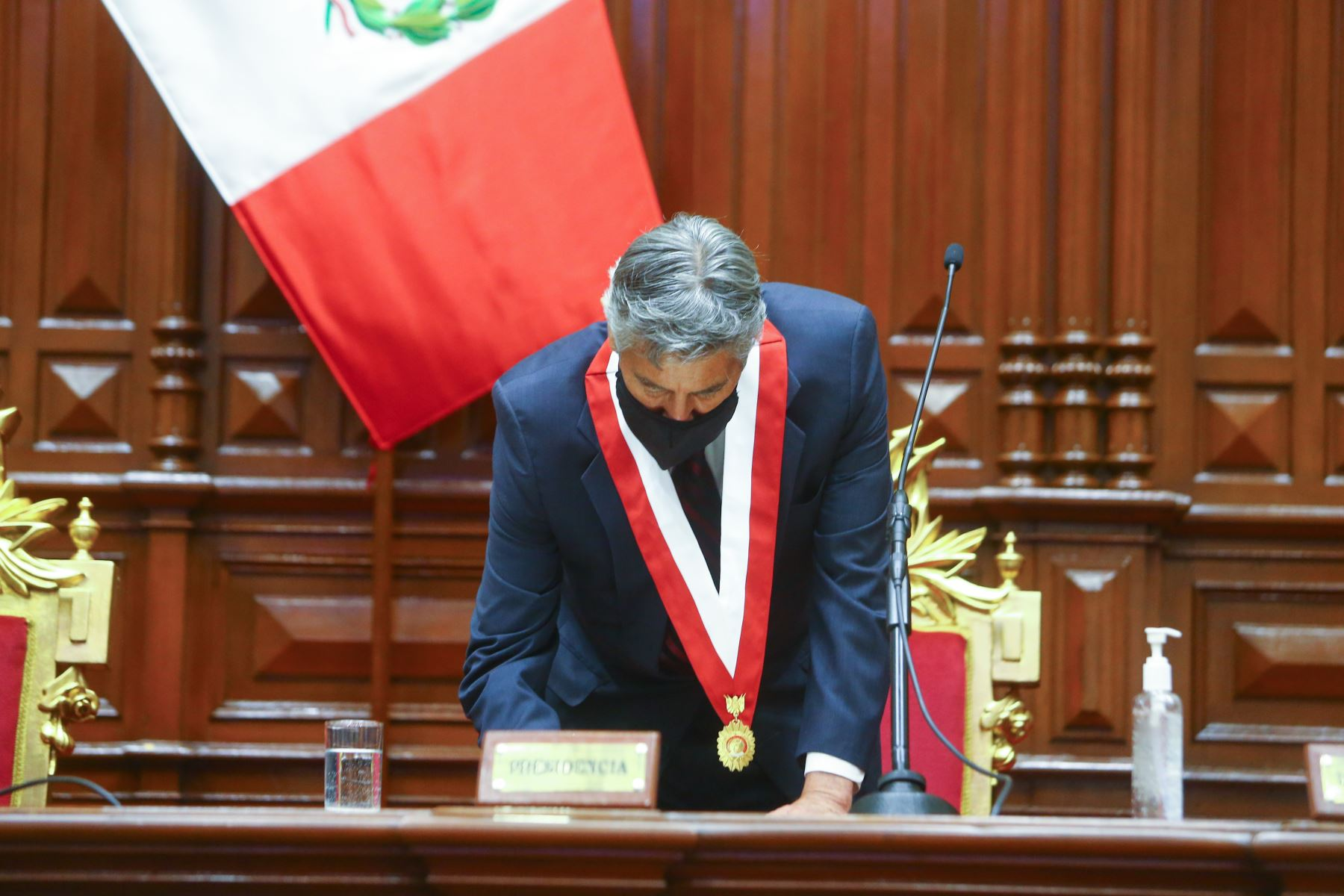 Peruvian President Francisco Sagasti delivers his first Address to the Nation from Congress. Photo: ANDINA/Presidency of the Republic