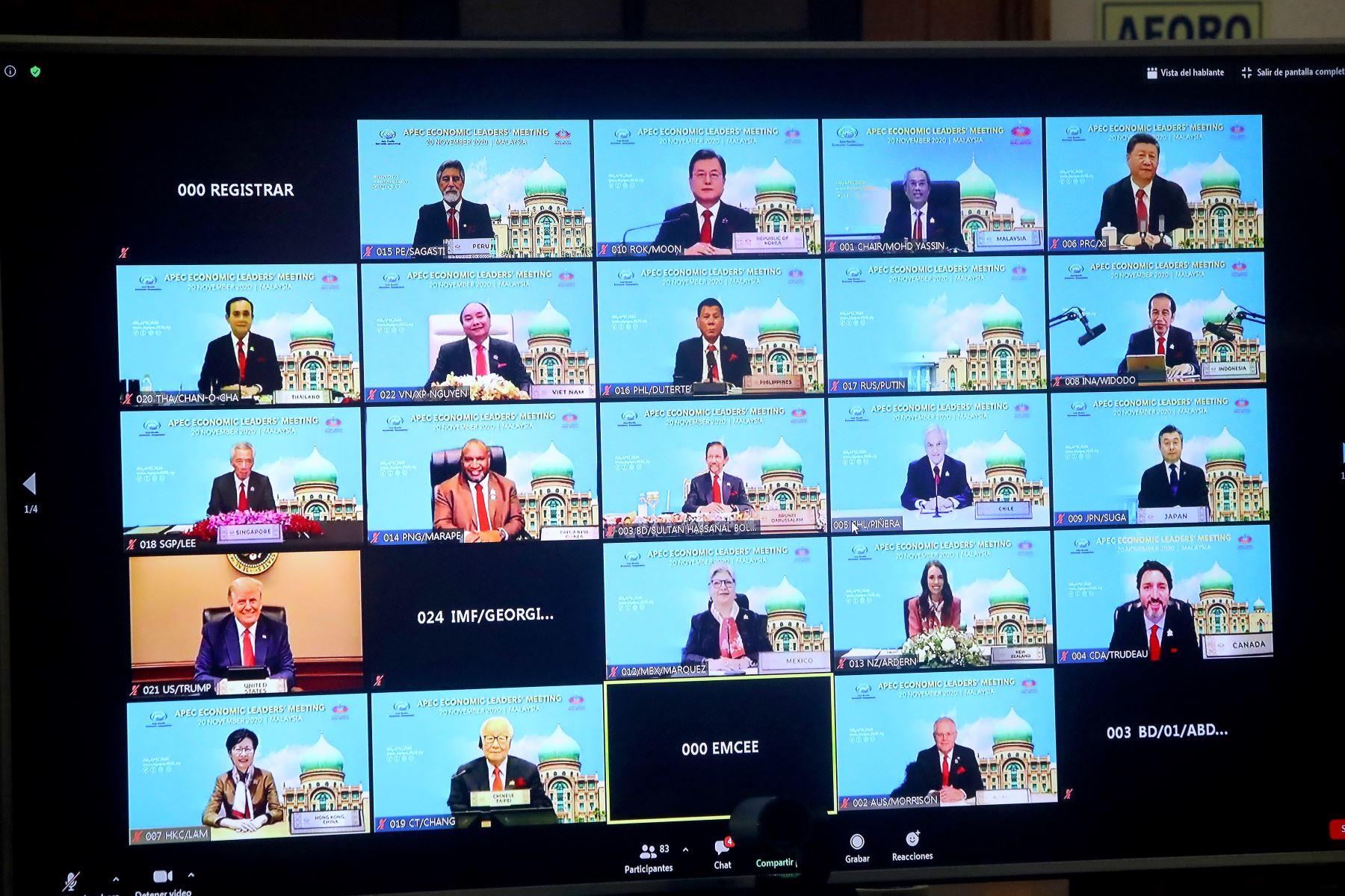 El presidente de la República, Francisco Sagasti, participó en la 27 Cumbre del Foro APEC que, por primera vez, se realizó en formato virtual.  Foto: ANDINA/ Prensa Presidencia