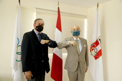 Japanese Ambassador to Peru Kazuyuki Katayama met with Peruvian Olympic Committee (COP) President Pedro del Rosario.