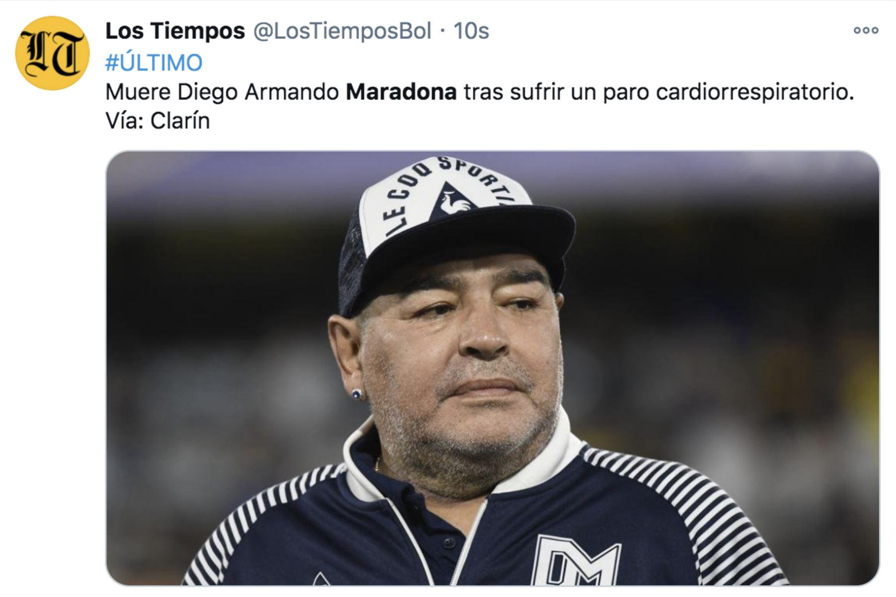 Así informa la prensa mundial la muerte de Diego Armando Maradona. Los Tiempos