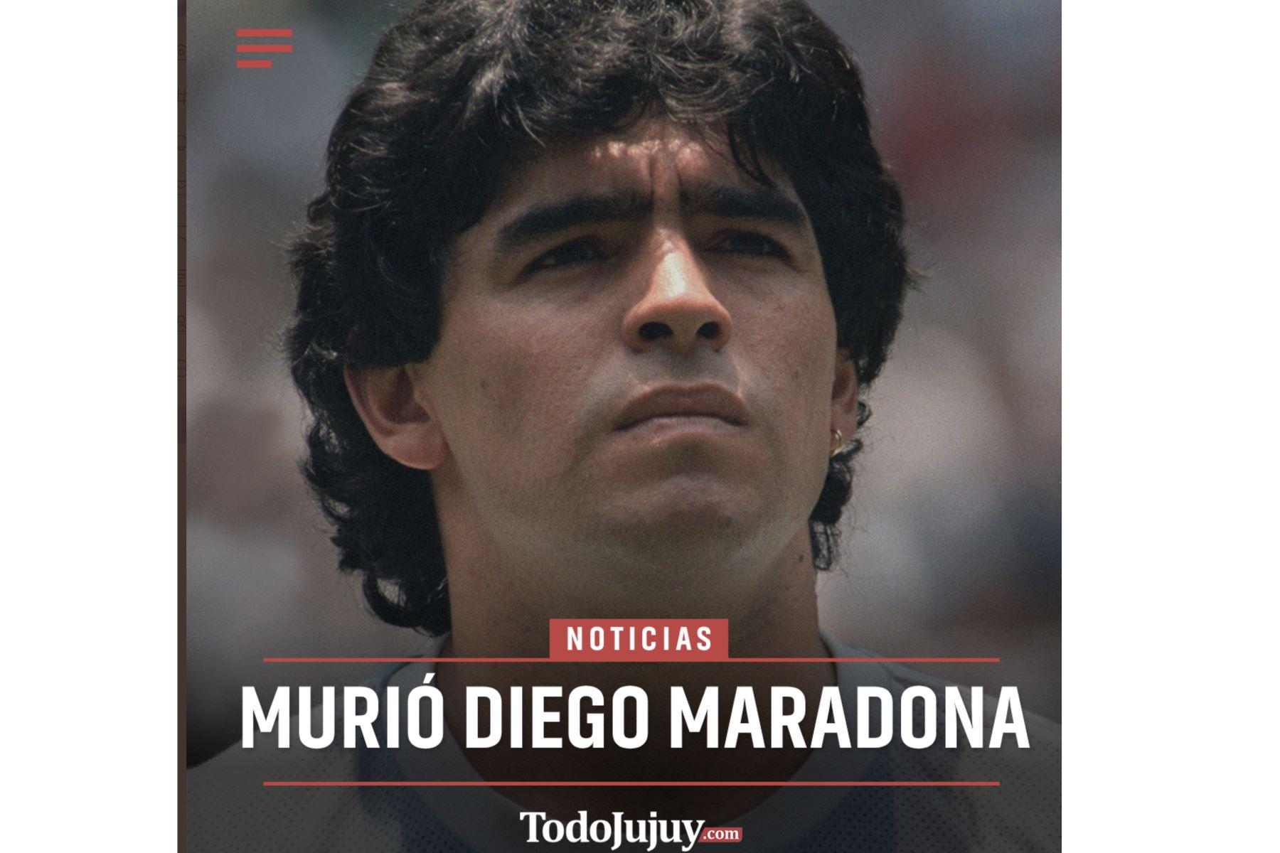 Así informa la prensa mundial la muerte de Diego Armando Maradona. Todo Jujuy