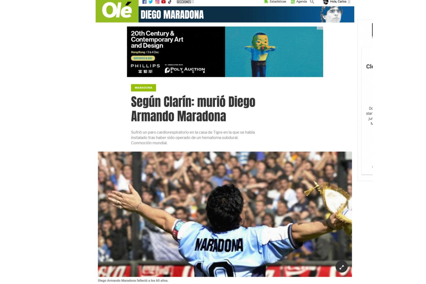 Así informa la prensa mundial la muerte de Diego Armando Maradona. Diario Olé