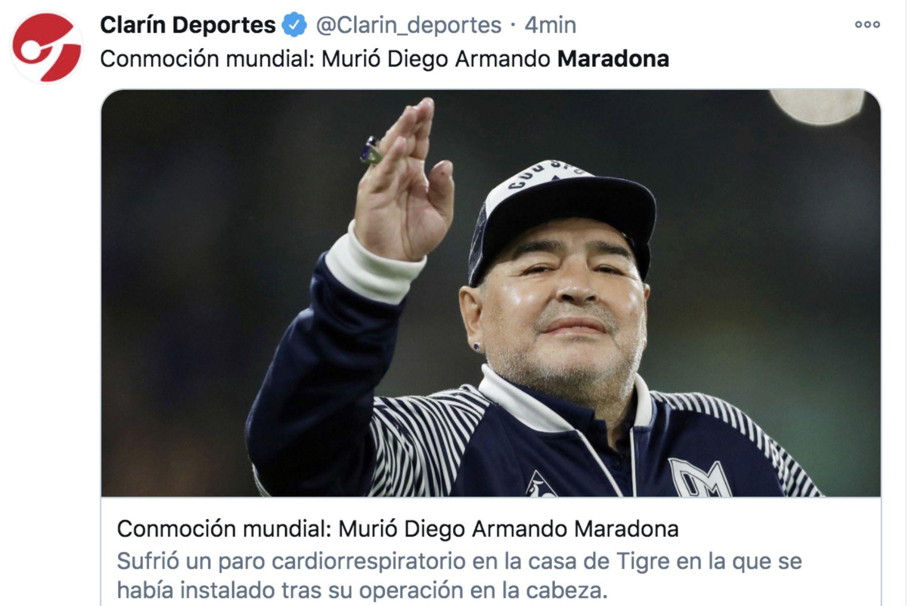 Así informa la prensa mundial la muerte de Diego Armando Maradona. Diario El Clarín