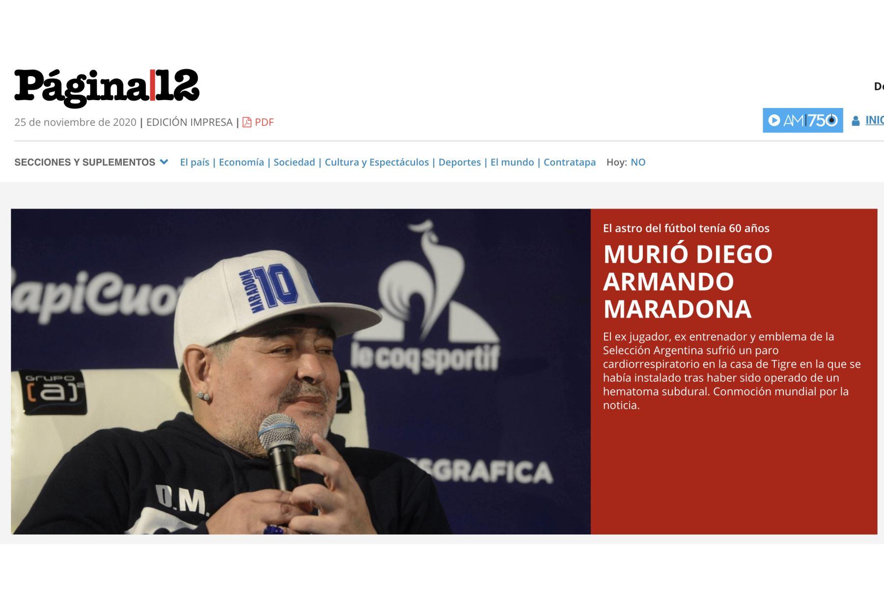 Diario El ClarínAsí informa la prensa mundial la muerte de Diego Armando Maradona. Página 12.