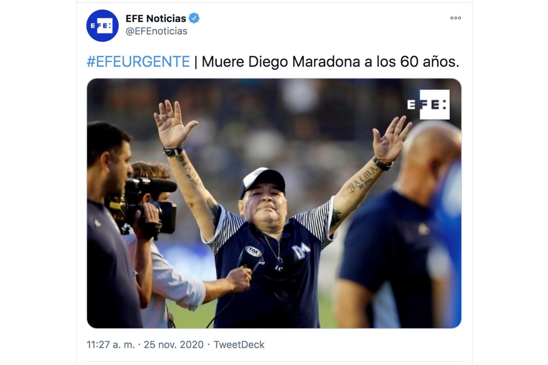 Así informa la prensa mundial la muerte de Diego Armando Maradona. EFE