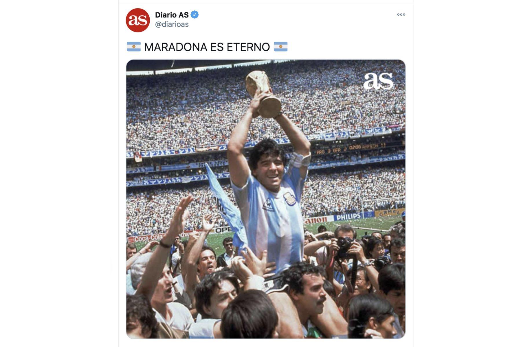 Así informa la prensa mundial la muerte de Diego Armando Maradona. Diario AS
