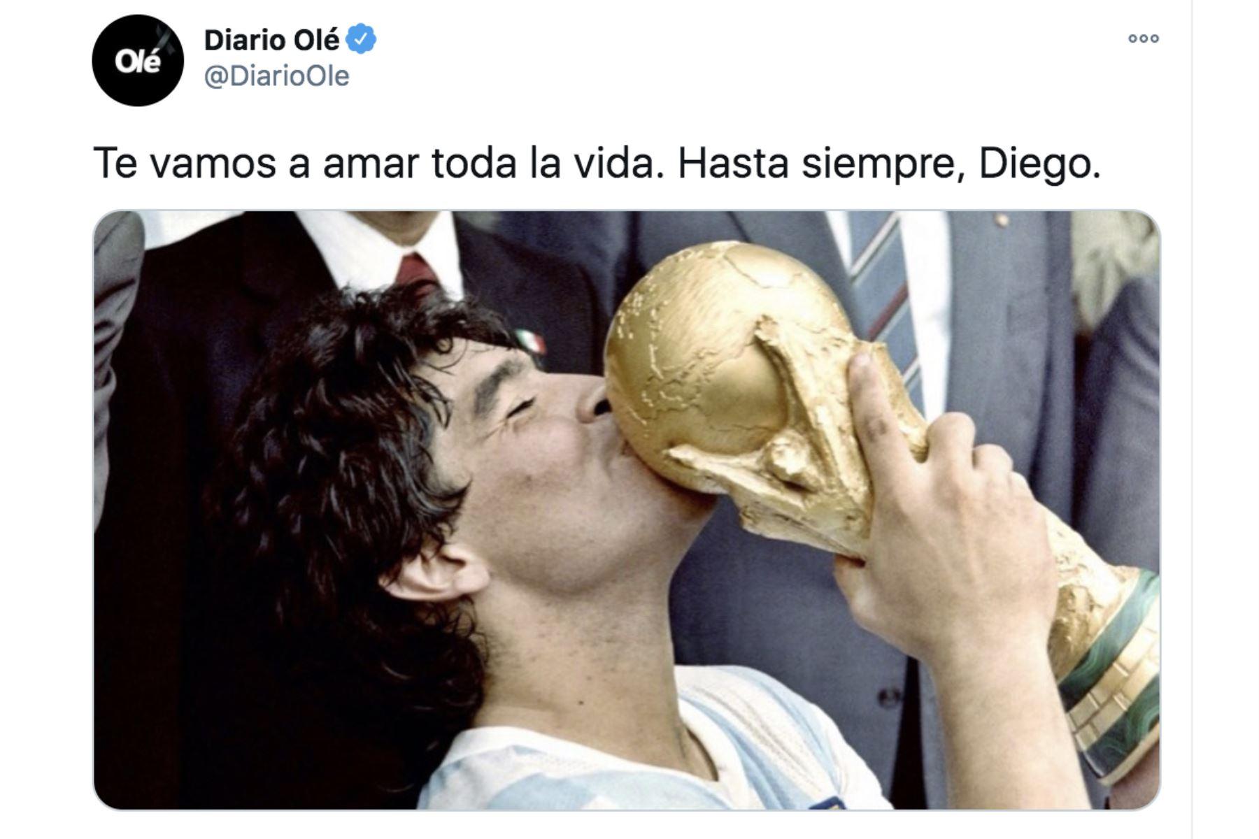 Así informa la prensa mundial la muerte de Diego Armando Maradona. Diario Olé.