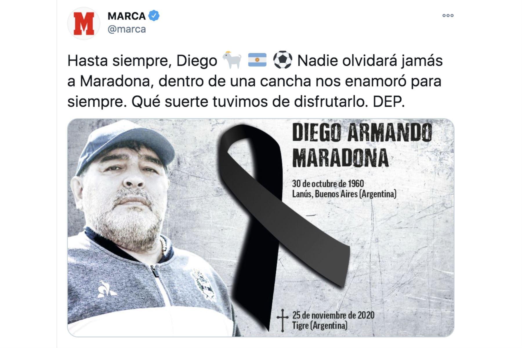 Así informa la prensa mundial la muerte de Diego Armando Maradona. Marca.