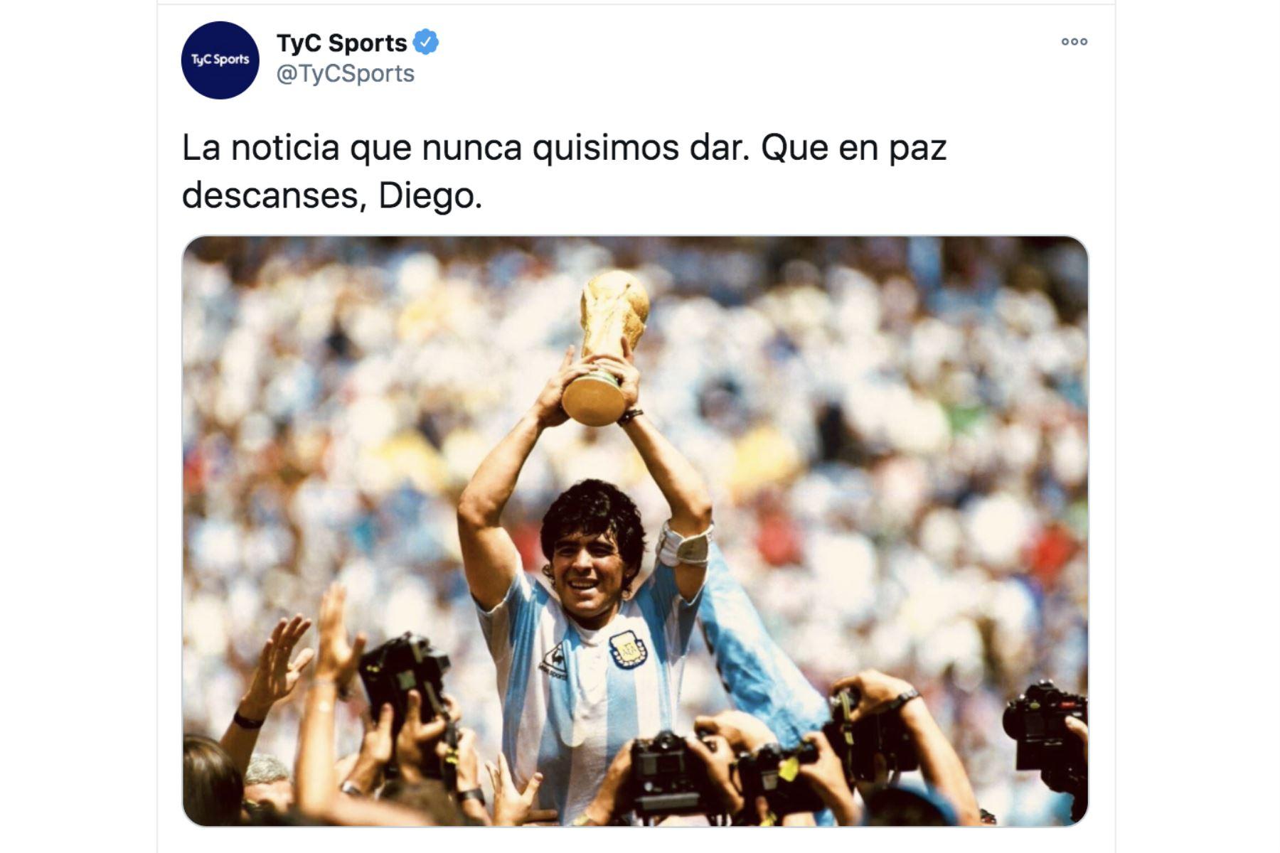 Así informa la prensa mundial la muerte de Diego Armando Maradona. TyC Sports.