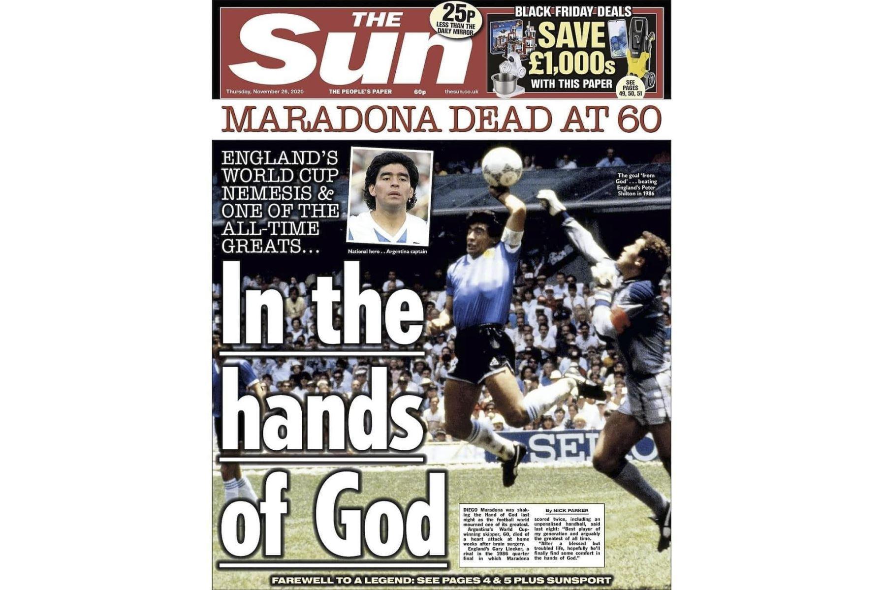 Así informa la prensa mundial la muerte de Diego Armando Maradona. The Sun de Reino unido.