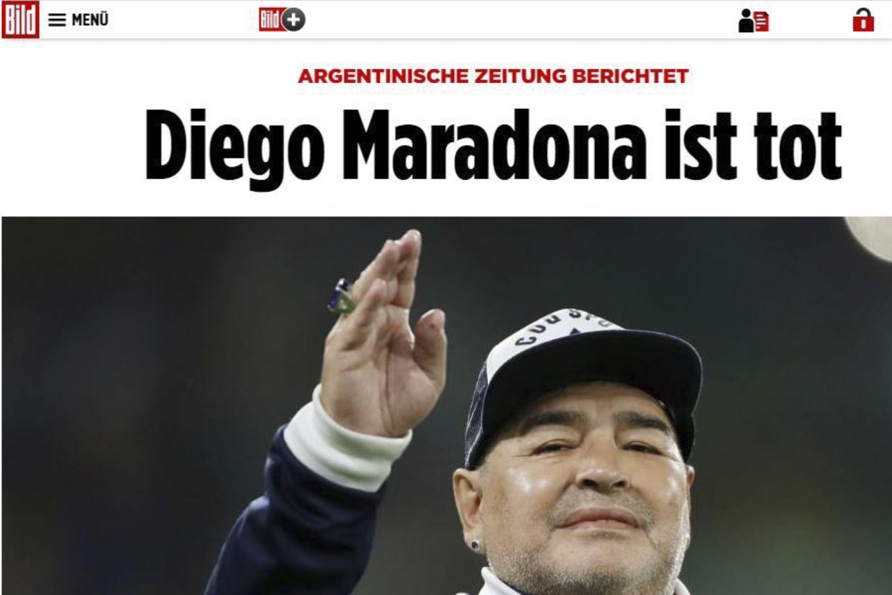 Así informa la prensa mundial la muerte de Diego Armando Maradona. Bild de Alemania