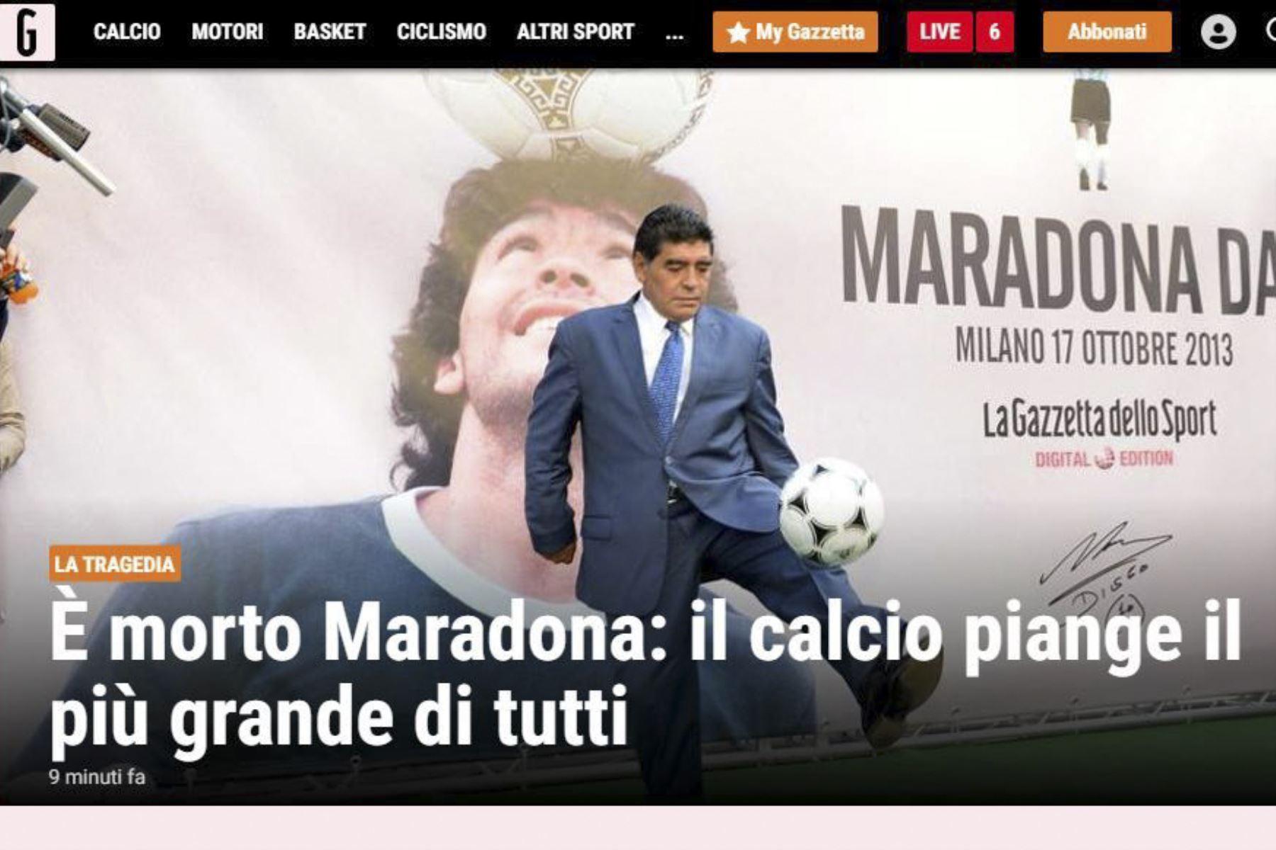 Así informa la prensa mundial la muerte de Diego Armando Maradona. Gazzeta de Italia