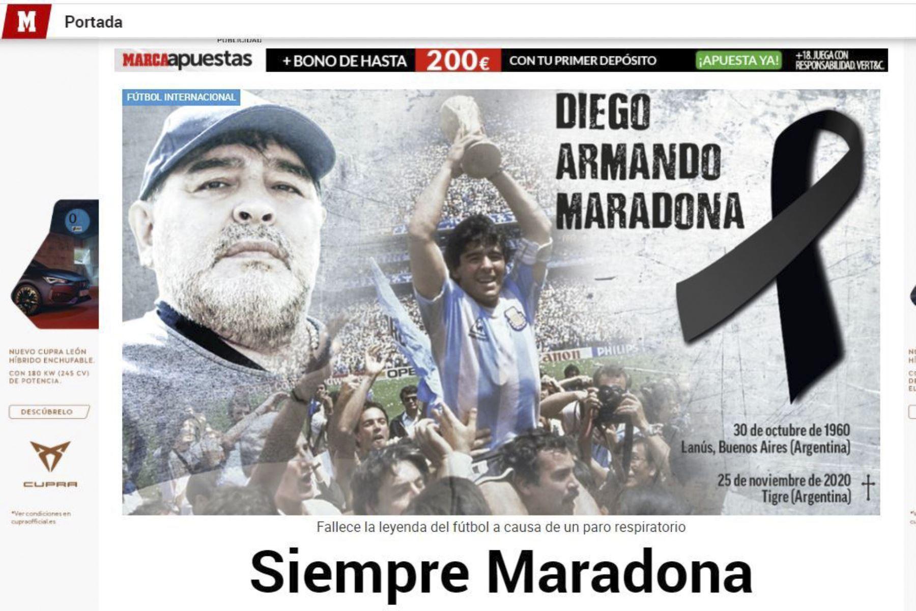 Así informa la prensa mundial la muerte de Diego Armando Maradona. Marca de España