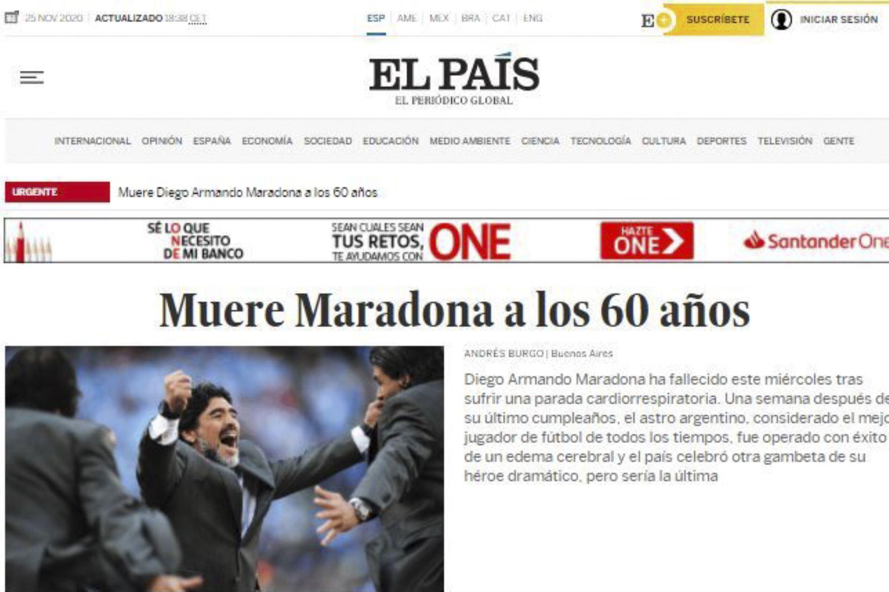 Así informa la prensa mundial la muerte de Diego Armando Maradona. El País de España
