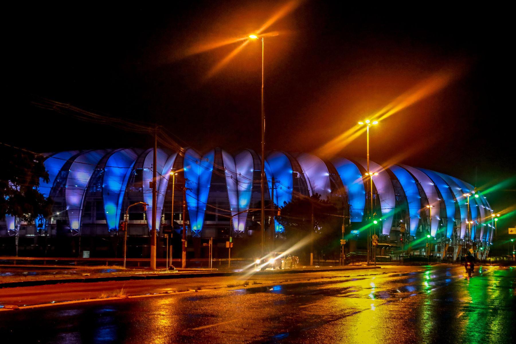 Estadio del Club Internacional en homenaje a Diego Armando Maradona en Porto Alegre, Brasil. Foto: AFP
