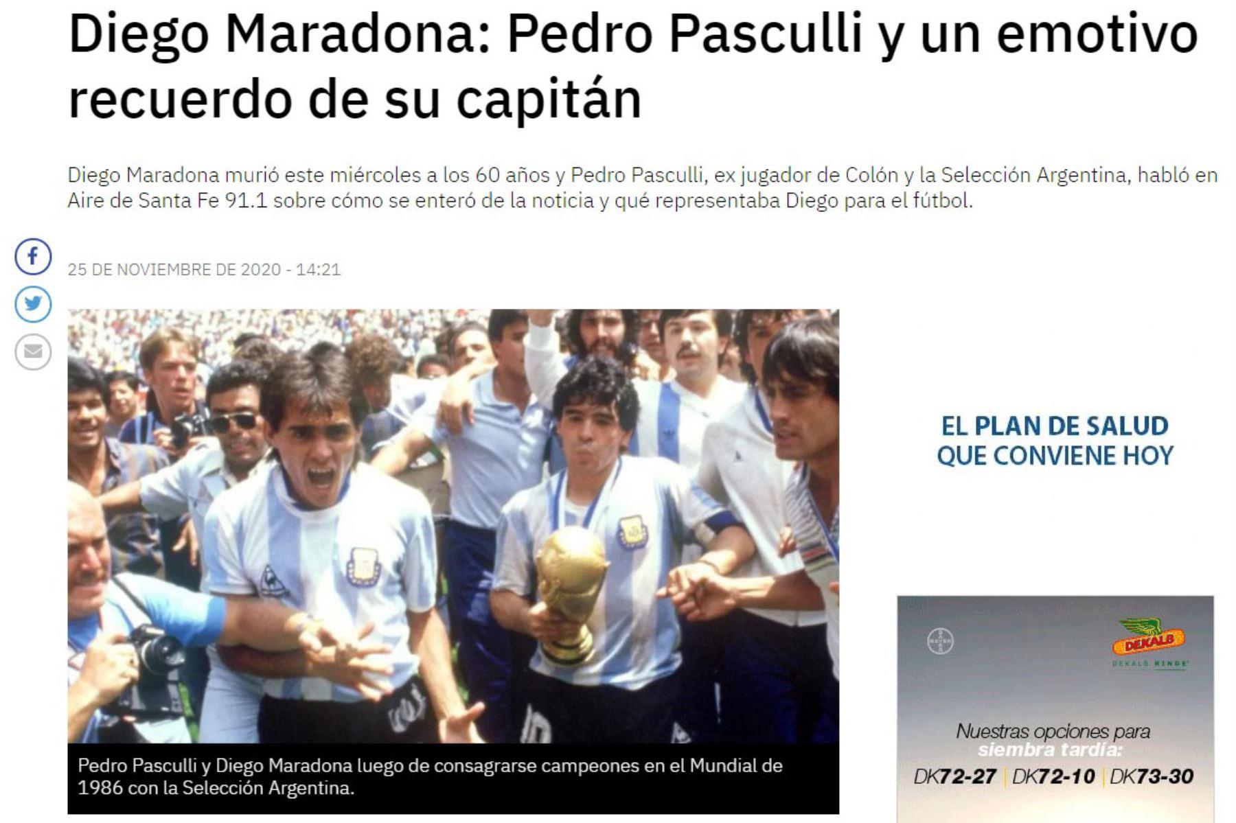 El ex futbolista Pedro Pasculli y un emotivo recuerdo de su capitán Diego Armando Maradona. Foto: Aire Digital