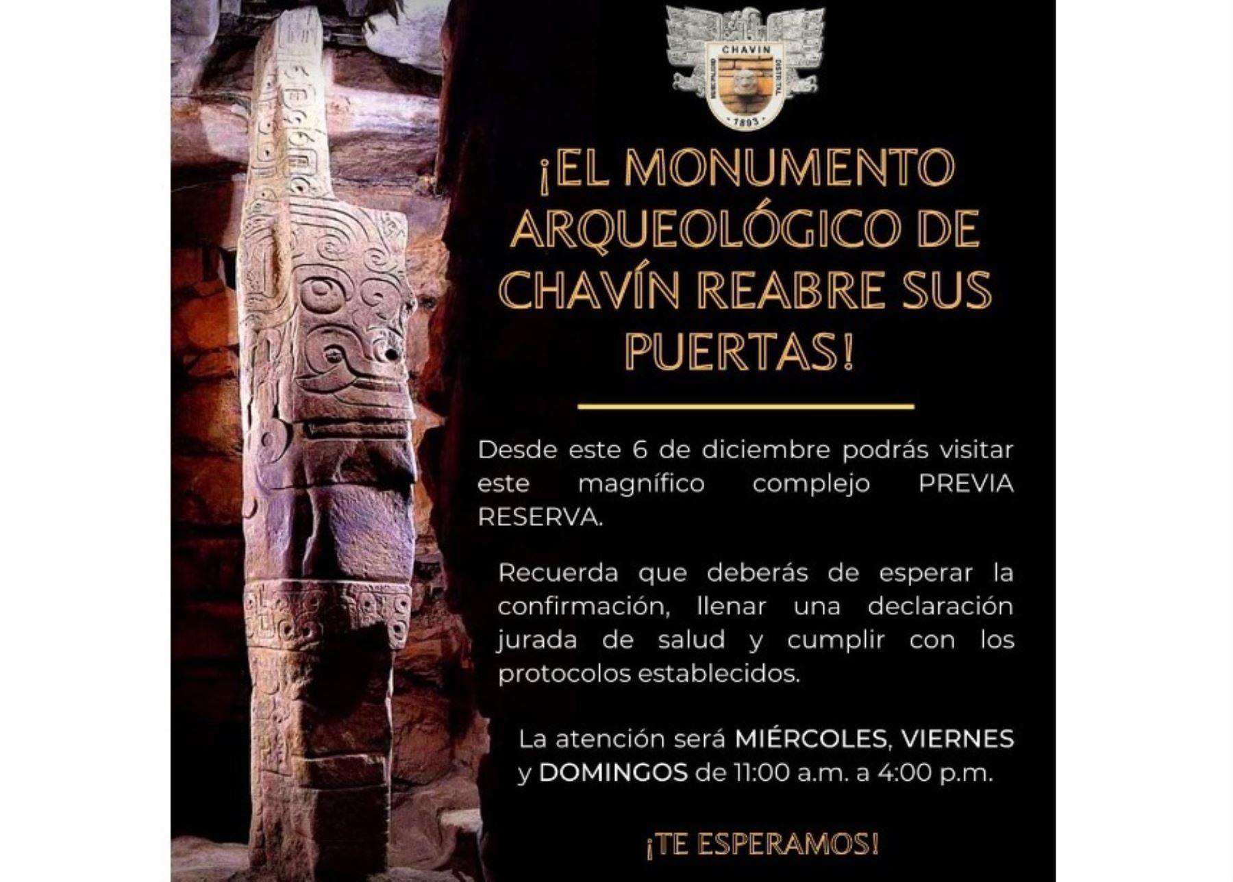 El monumento arqueológico Chavín de Huántar, ubicado en Áncash, volverá a recibir visitantes a partir del 6 de diciembre próximo luego de aprobarse el protocolo sanitario ante el covid-19.