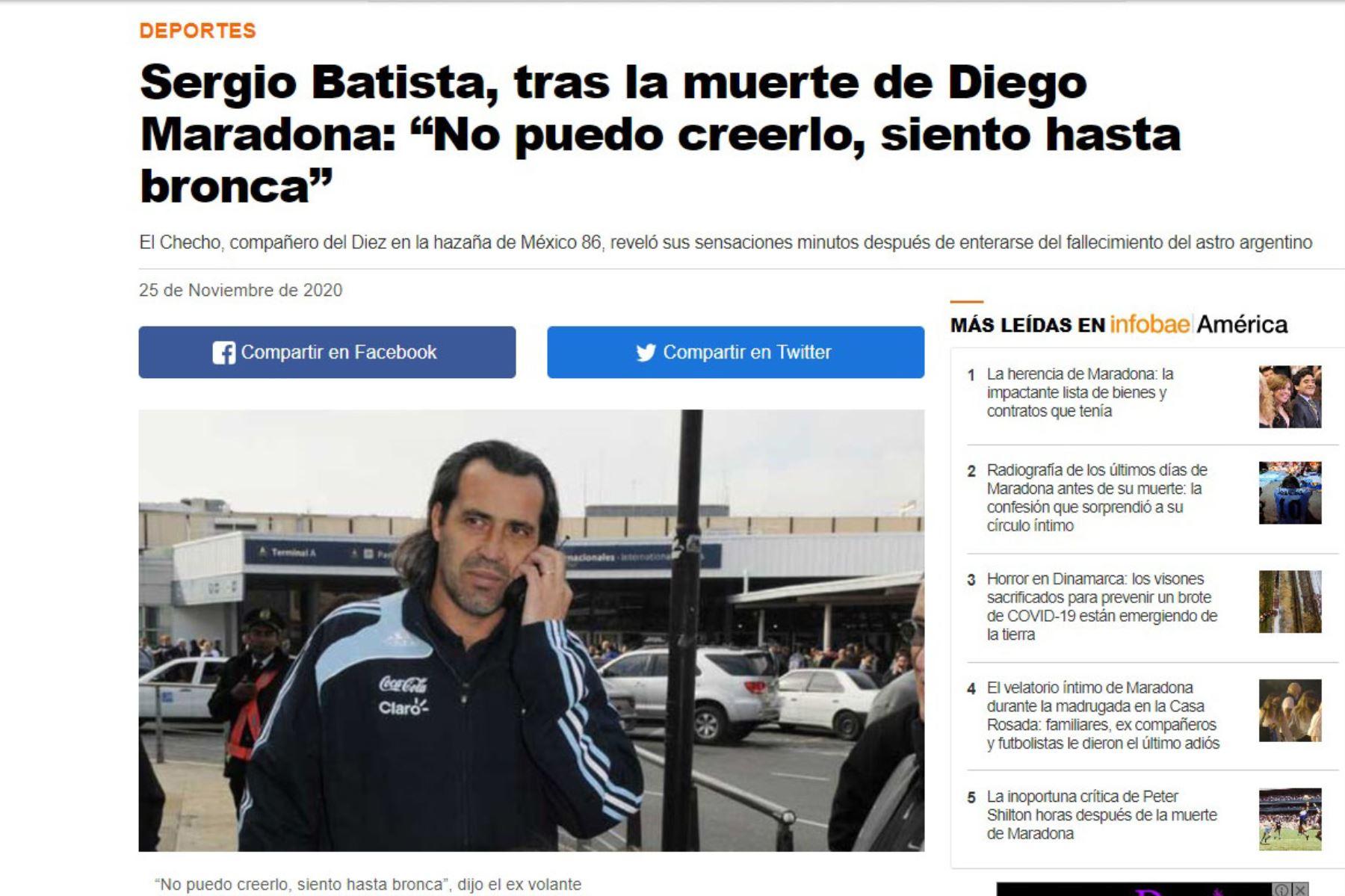 Sergio Batista, ex futbolista y compañero de Diego Armando Maradona en la copa mundial de 1986 , se pronuncia por la muerte del astro argentino .  Foto: Infobae