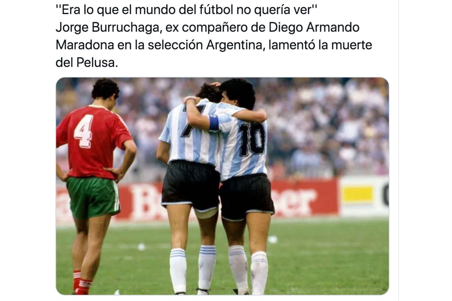 El ex futbolista Jorge Burruchaga,  compañero del astro argentino Diego Armando Maradona se despide en redes sociales de astro argentino. Foto: Difusión