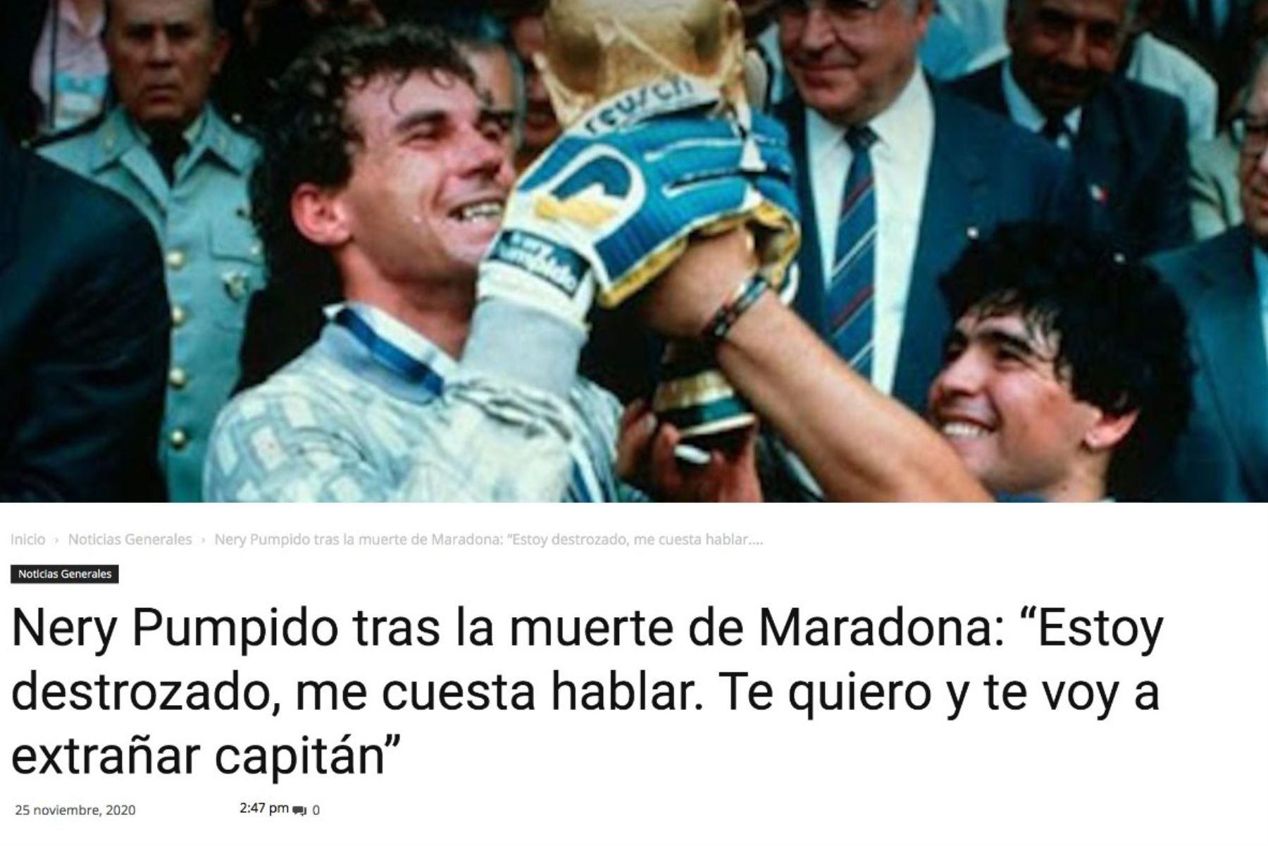 Nery Pumpido, ex futbolista y compañero de Diego Armando Maradona, manifiesta su tristeza , tras la muerte de Maradona. Foto: Difusión