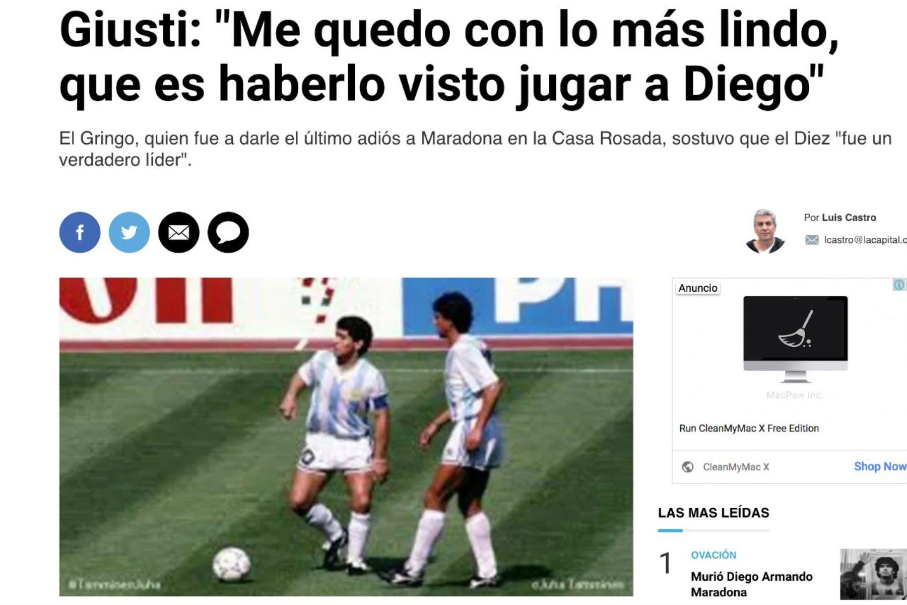 Ricardo Giusti  compañero de Diego Maradona en la selección argentina en México