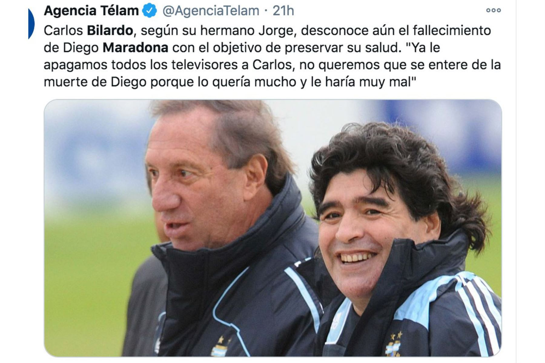 """Jorge Bilardo dijo que a su hermano Carlos Bilardo """"le apagaron toda la televisión y le dijeron que se había cortado el cable"""", para que no se entere por los medios de la noticia de la muerte de Diego Armando Maradona. Foto: Agencia Télam"""