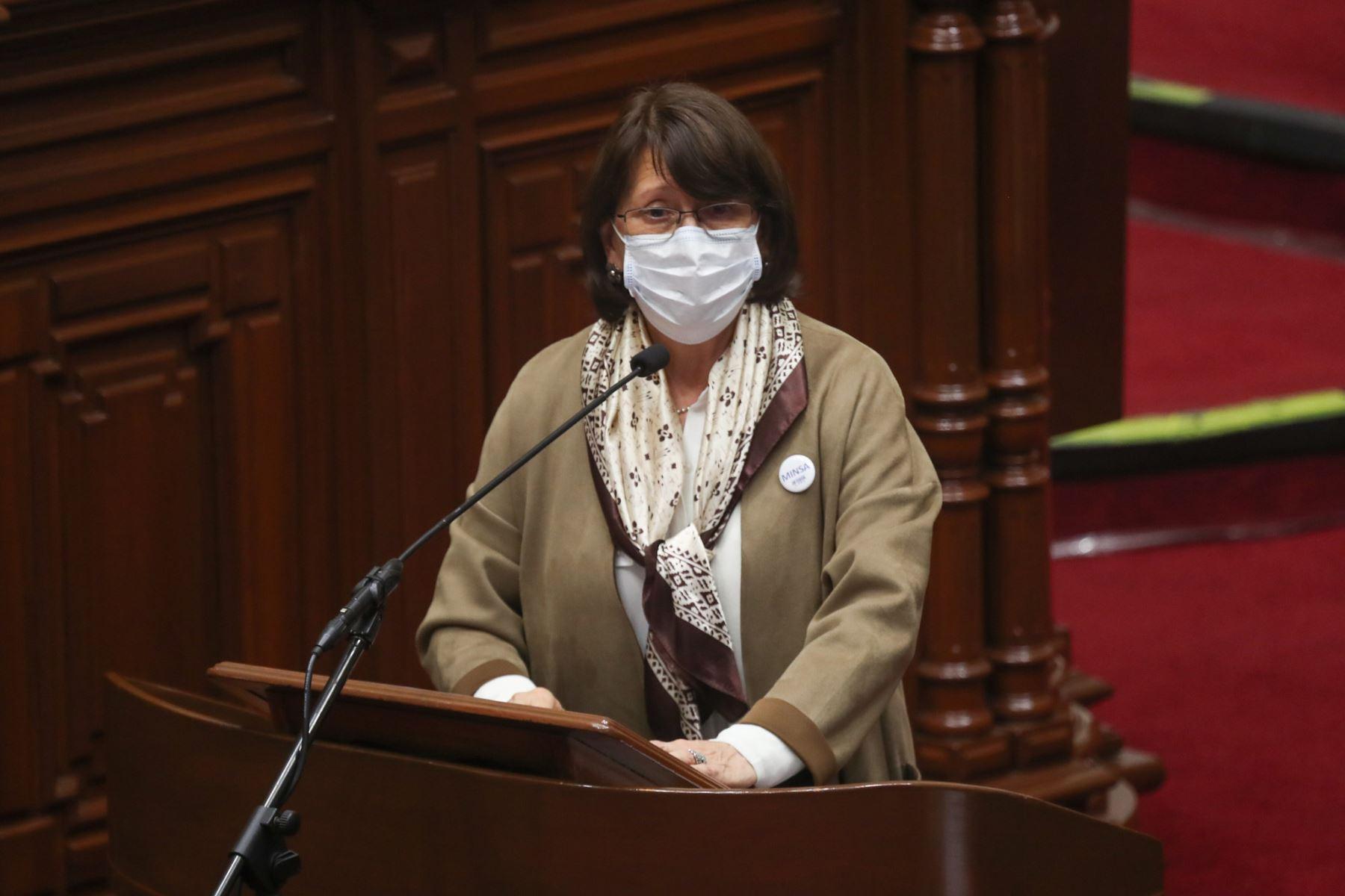 Intervención de la ministra de Salud Pilar Mazzetti ante el Congreso de la República.  Foto: ANDINA / PCM
