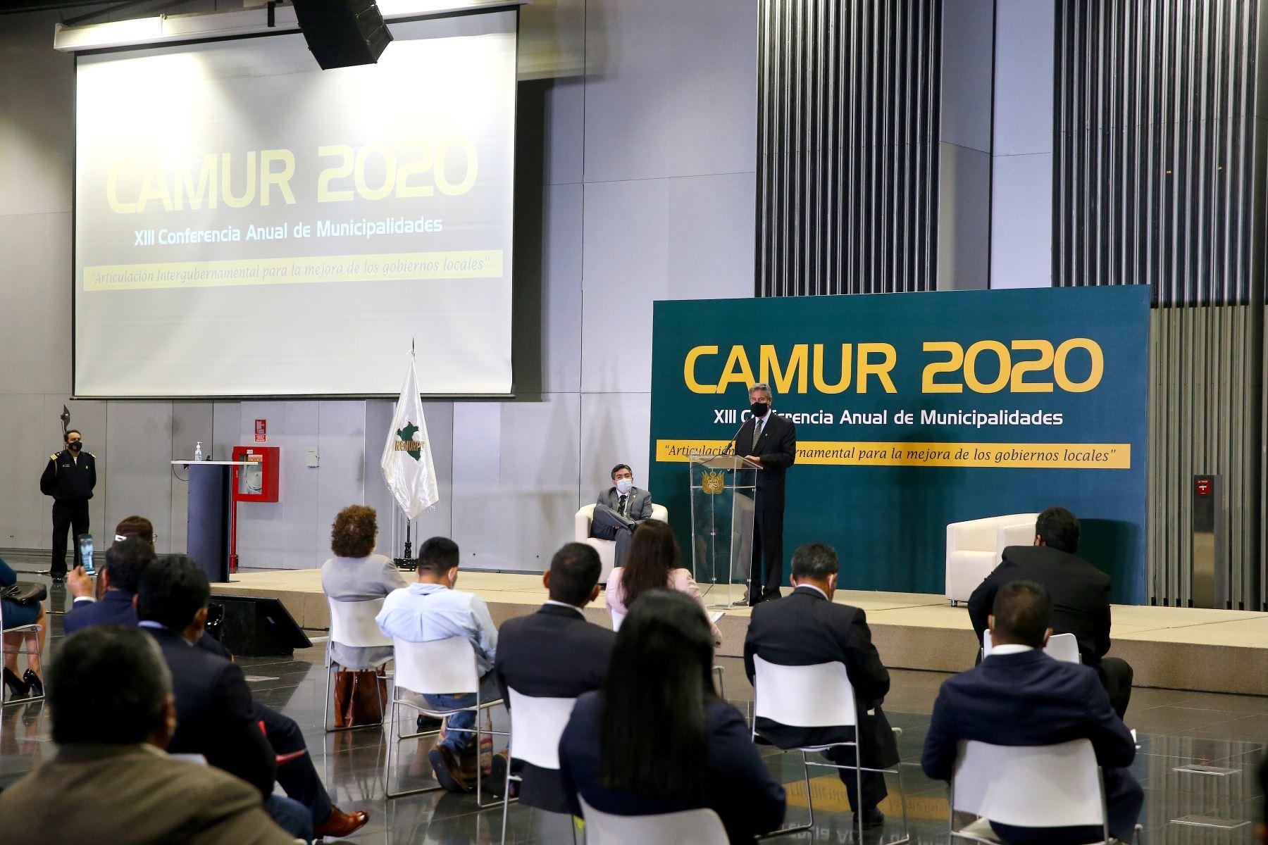 El presidente de la República, Francisco Sagasti clausuró la XIII Conferencia Anual de Municipalidades Urbanas y Rurales (CAMUR 2020). En la cita participaron más de 70 Alcaldes. Foto: ANDINA/Prensa Presidencia