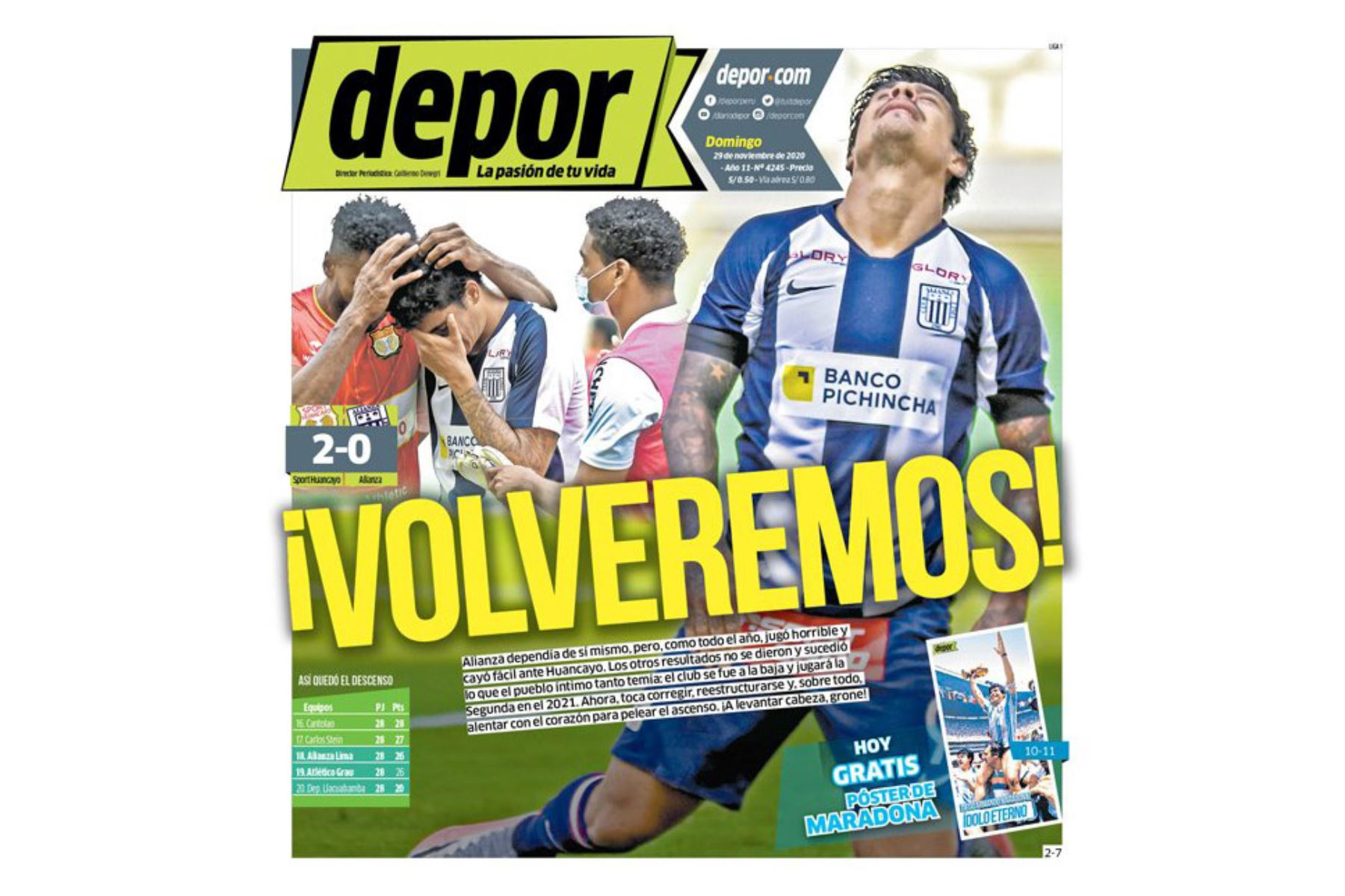 Así informaron algunos medios locales el descenso de Alianza Lima a la Segunda División. Depor. Foto: Difusión