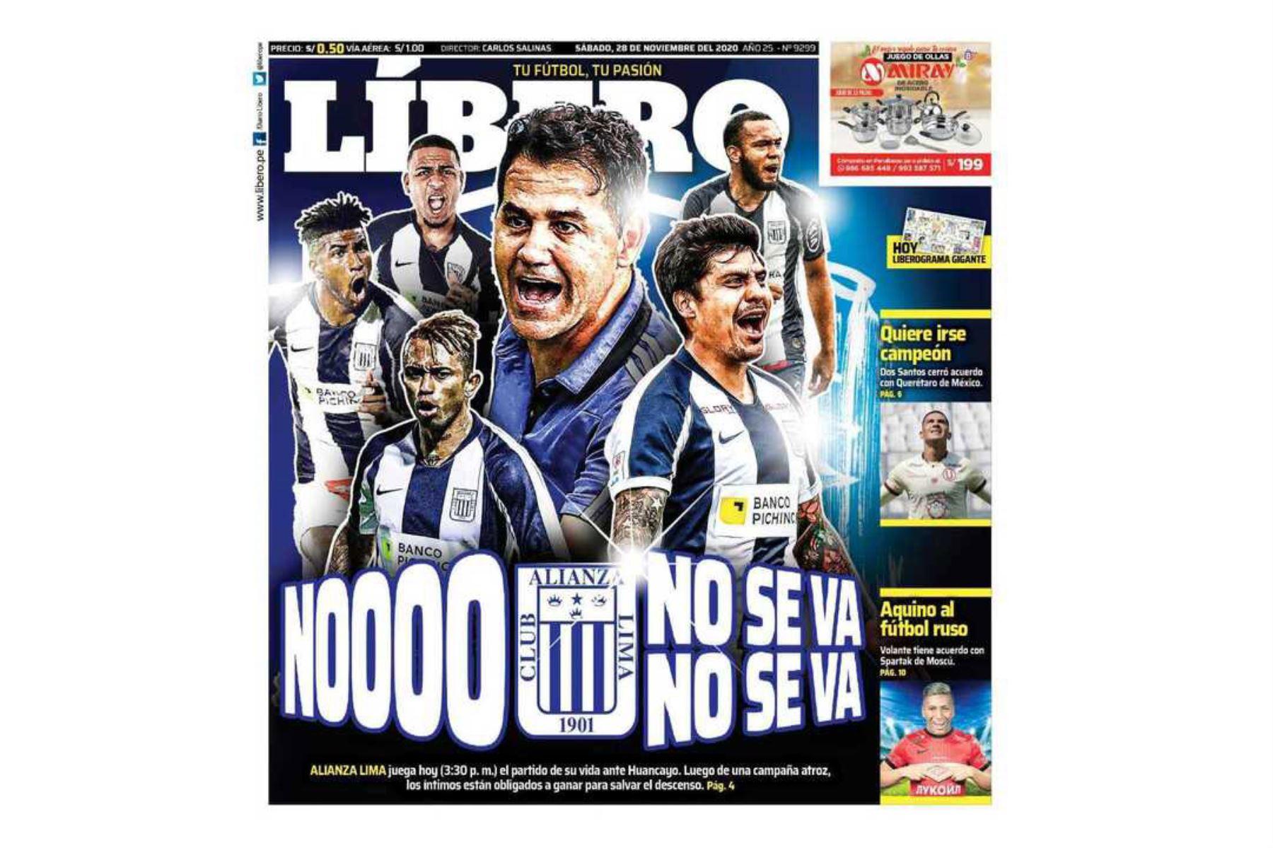 Así informaron algunos medios el descenso de Alianza Lima a la Segunda División. Líbero. Foto: Difusión