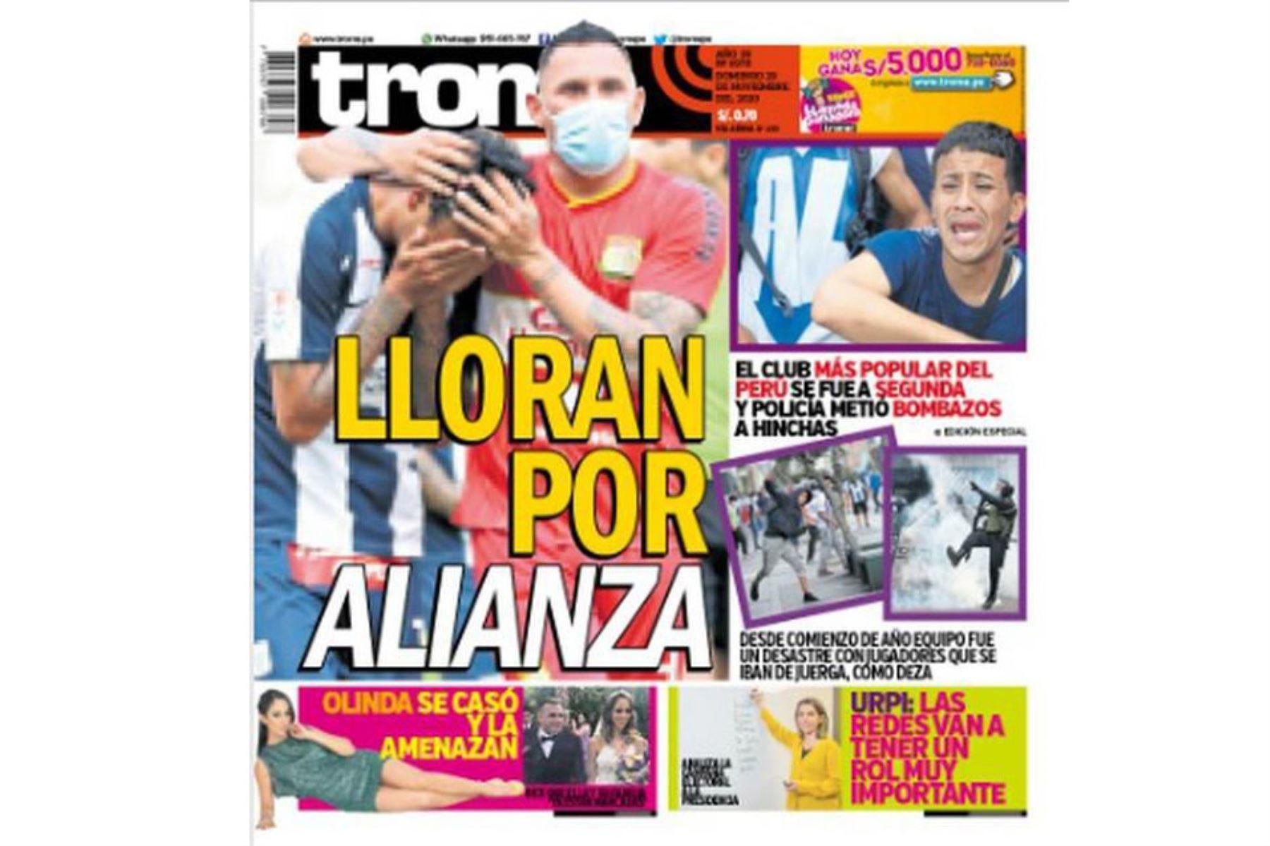 Así informaron algunos medios el descenso de Alianza Lima a la Segunda División. Trome. Foto: Difusión