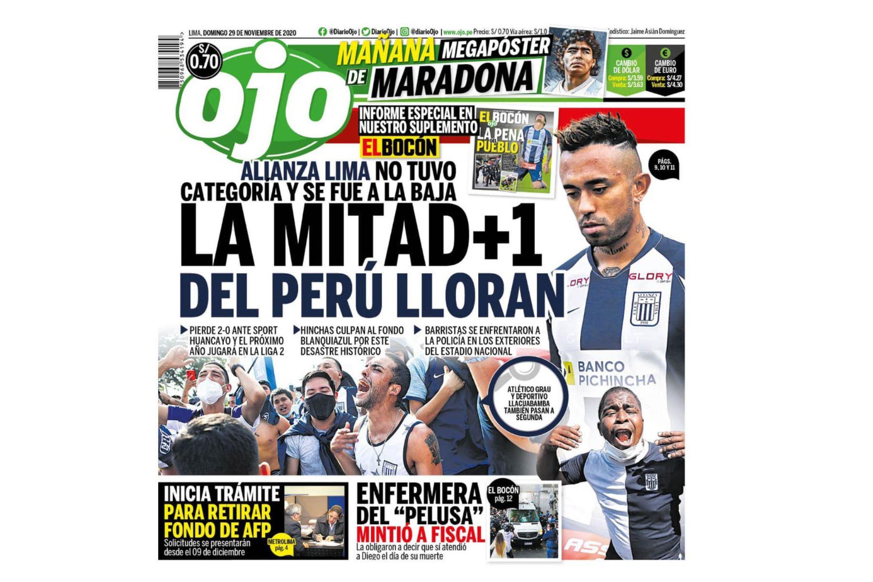 Así informaron algunos medios el descenso de Alianza Lima a la Segunda División. Diario Ojo. Foto: Difusión