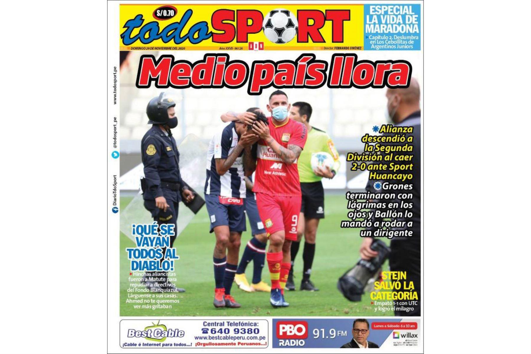 Así informaron algunos medios el descenso de Alianza Lima a la Segunda División. Todo Sport. Foto: Difusión