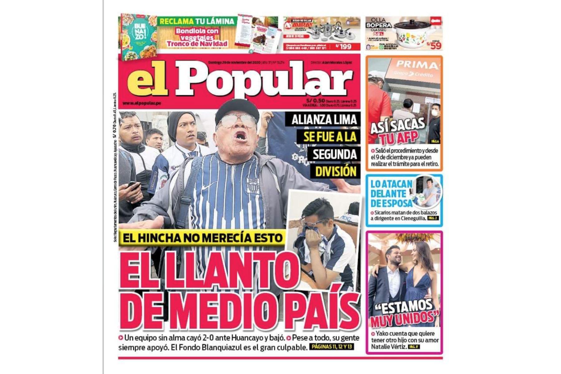 Así informaron algunos medios el descenso de Alianza Lima a la Segunda División. El Popular. Foto: Difusión