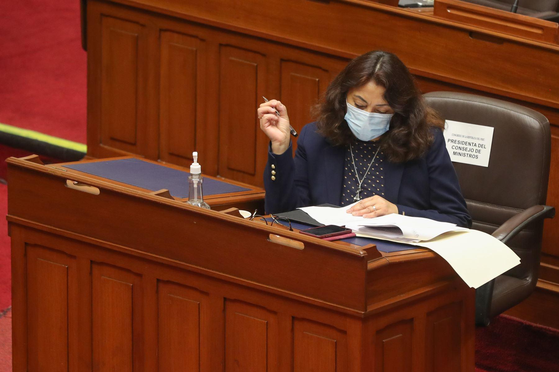 La presidenta del Consejo de Ministros, Violeta Bermúdez asiste al Congreso para participar en el debate por los proyectos de Ley de Presupuesto, de Endeudamiento y de Equilibrio Financiero del Sector Público para el año fiscal 2021. Foto: PCM