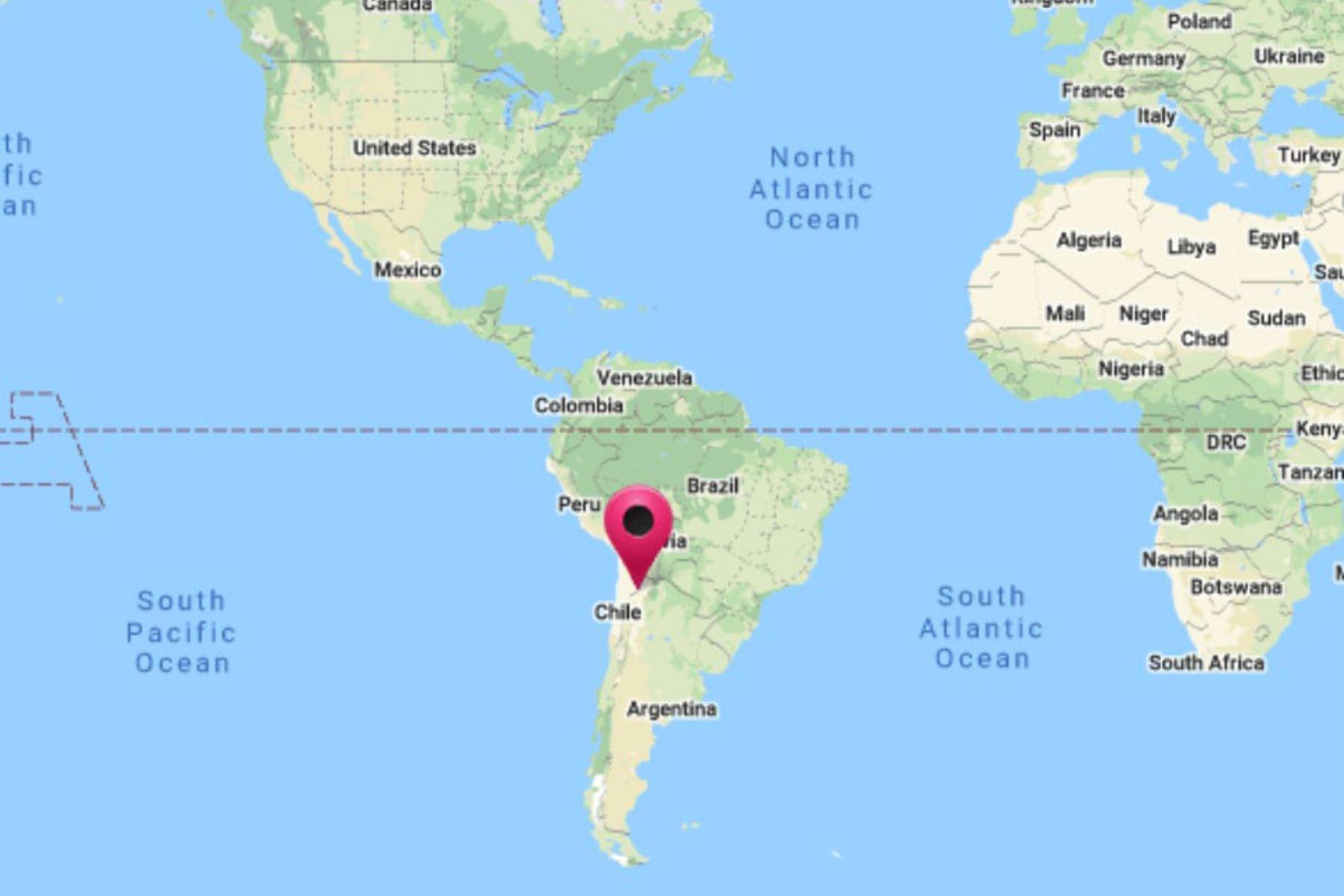 Sismo de magnitud 6.3 se registró a 76 kilómetros al oeste-suroeste de San Antonio de los Cobres, Argentina. Gráfico: DHN