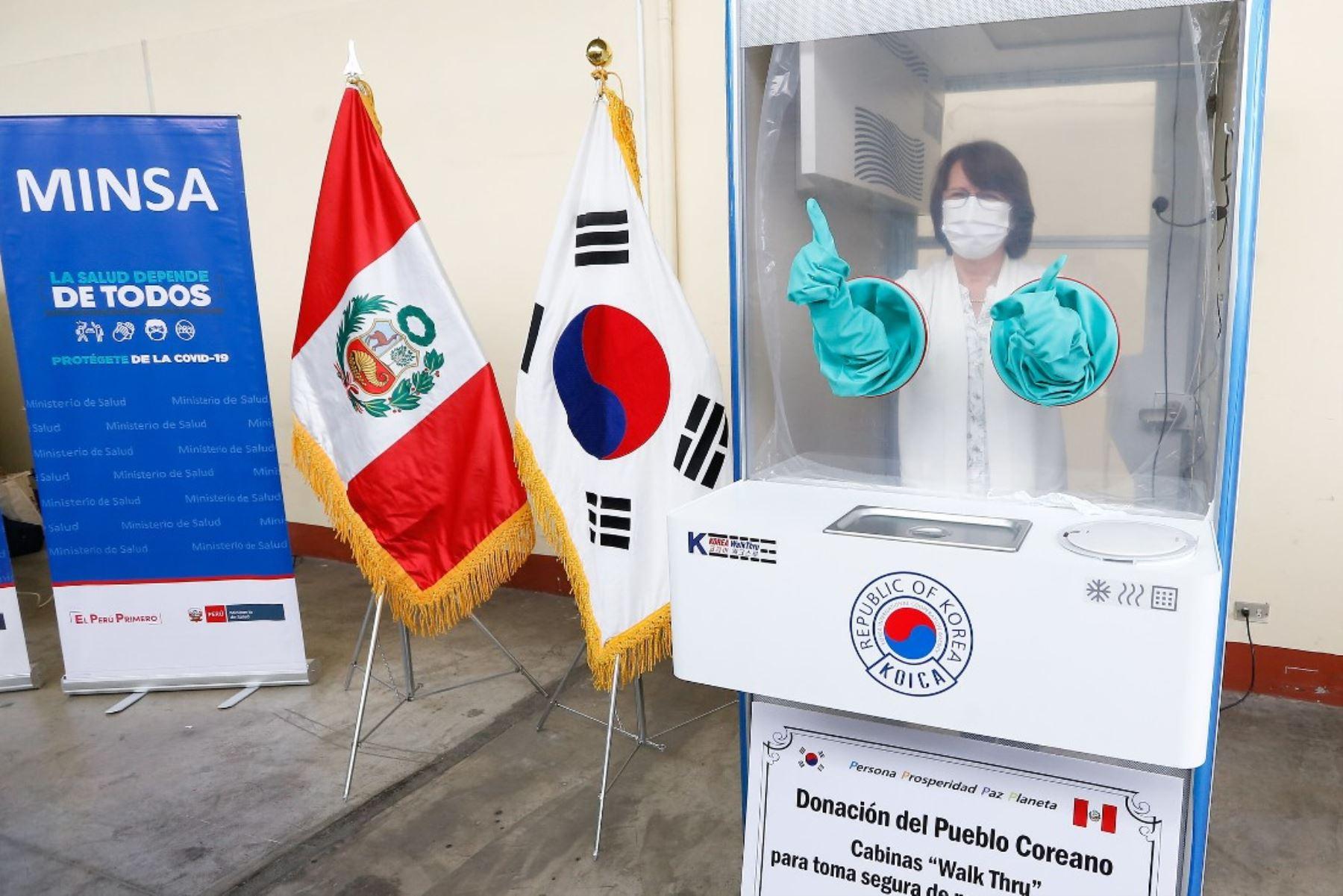 Coronavirus: Corea dona al Perú innovadoras cabinas para la toma de muestras. Foto: ANDINA/Difusión.