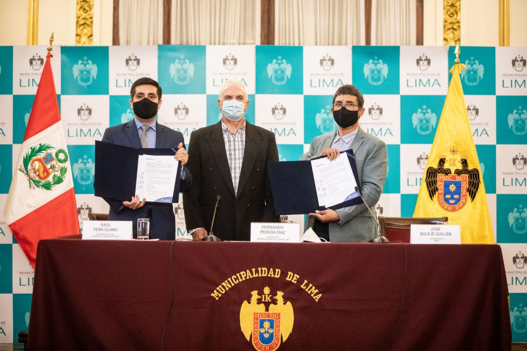 La Municipalidad de Lima y el Consorcio Metropolitano Norte suscribieron contrato que permitirá ampliación de vía exclusiva. Foto: ANDINA/Municipalidad de Lima