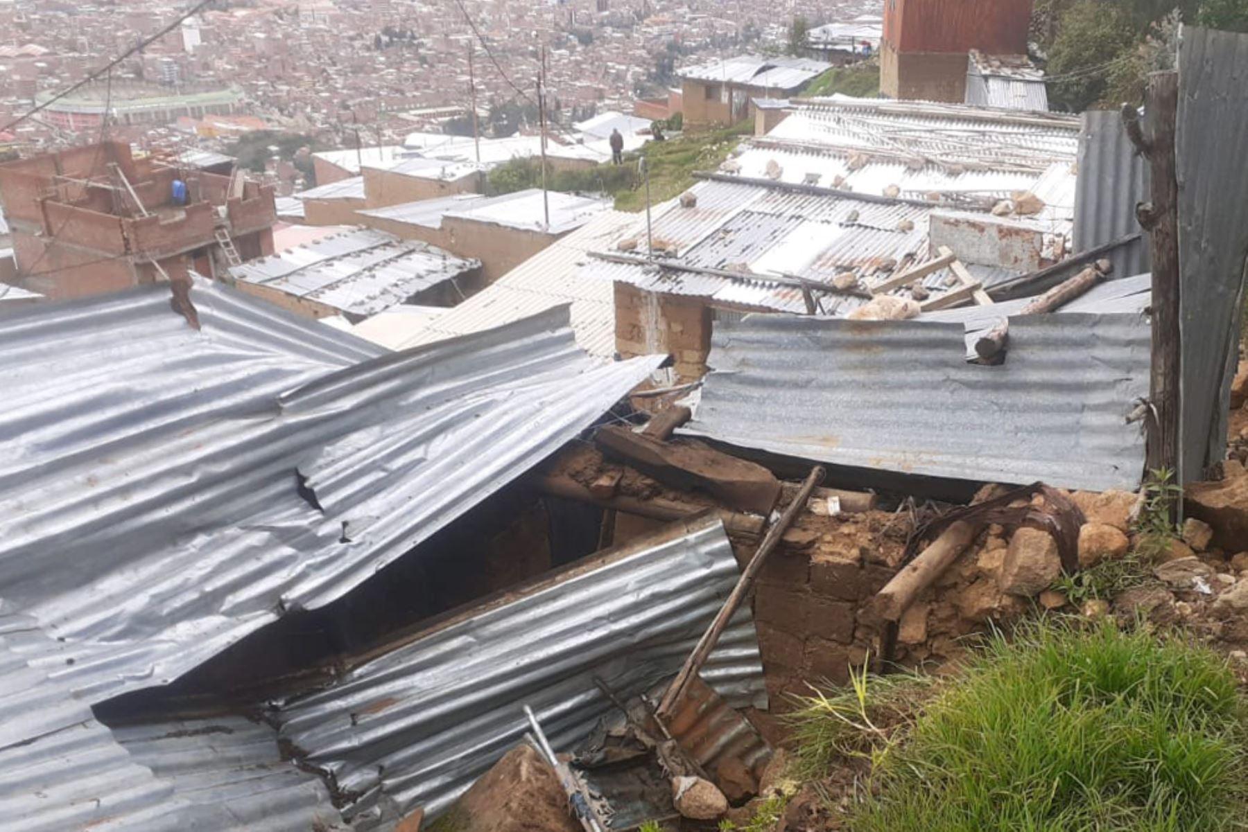 Los derrumbes ocurrieron en el Centro Poblado de Jatun Pongor, y en el barrio Chua Alto, ambos ubicados en el distrito de Independencia, en Huaraz.ANDINA/ COER Ancash