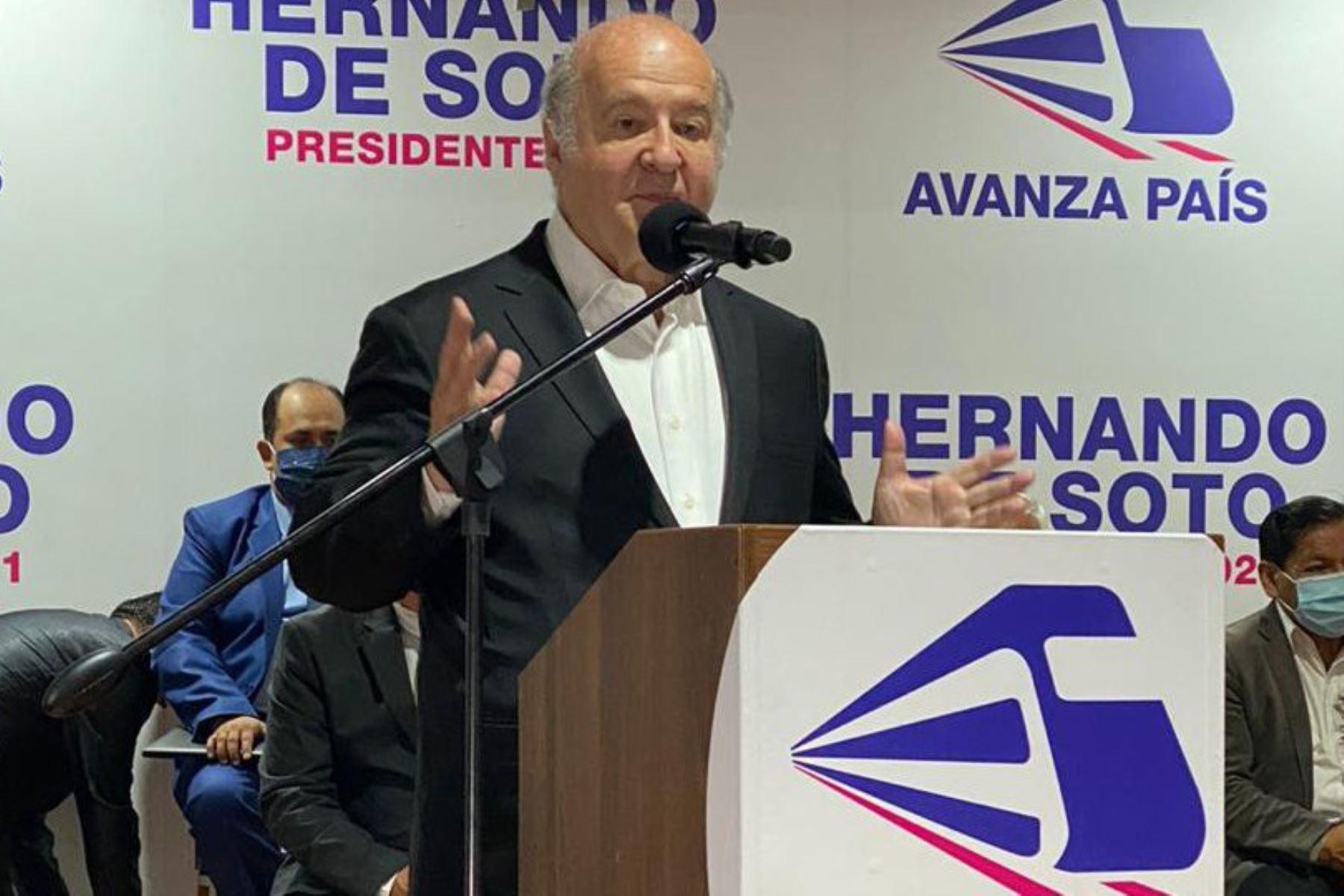 Hernando de Soto, postulante presidencial de Avanza País. Foto: ANDINA/difusión.