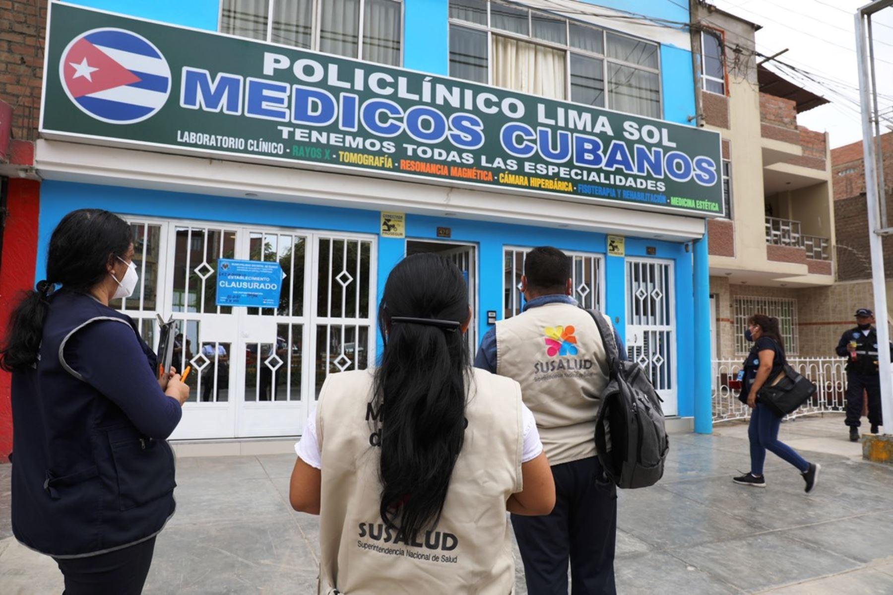 Susalud interviene tres locales de la Clínica Internacional Médicos Cubanos. Foto: ANDINA/Difusión.