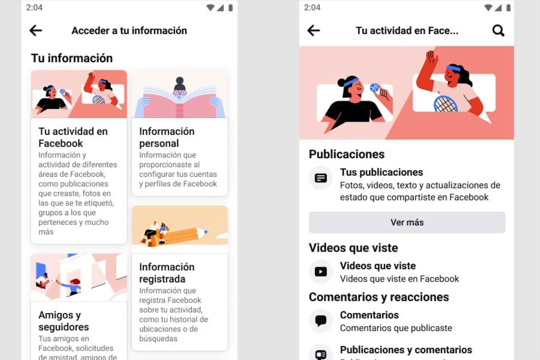 """Facebook lanzó """"Acceder a tu información"""" en 2018."""