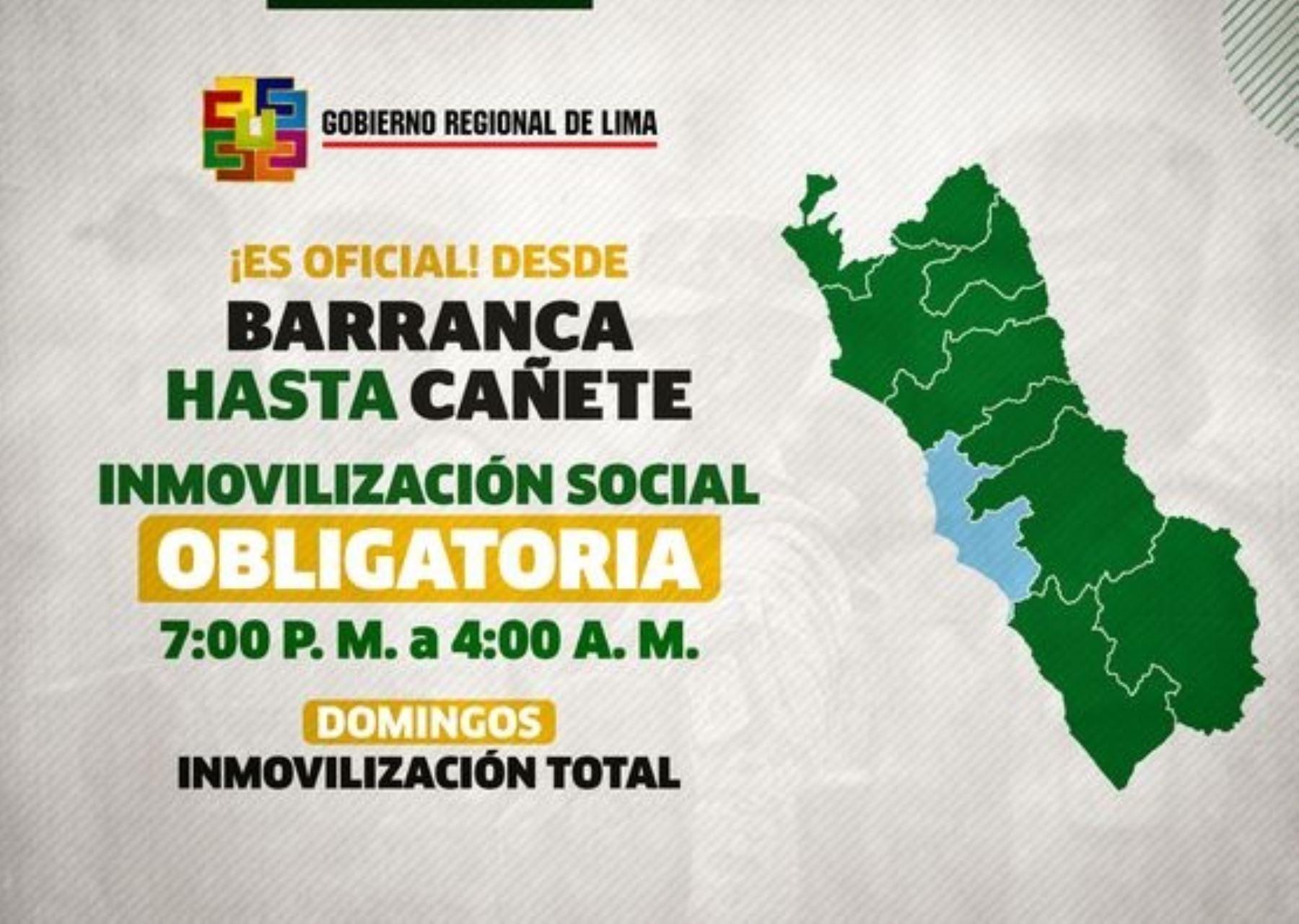 En Cañete, Barranca, Huaura y otras provincias de la Región Lima el toque de queda empezará a las 19:00 horas a partir de mañana viernes 15. Foto: ANDINA/difusión.