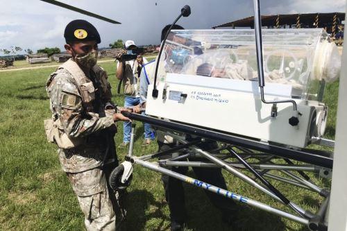 Ejército del Perú realizó la evacuación aeromédica helitransportada de una bebé en Madre de Dios