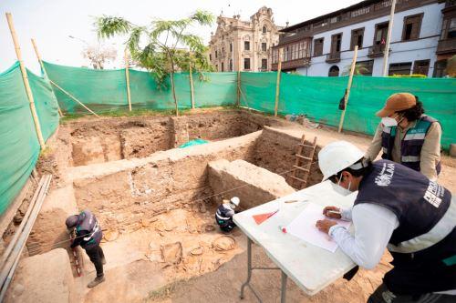 La intervención arqueológica, a cargo del equipo de Prolima, forma parte de las acciones de implementación del Plan Maestro del Centro Histórico de la ciudad. Foto: ANDINA/MML