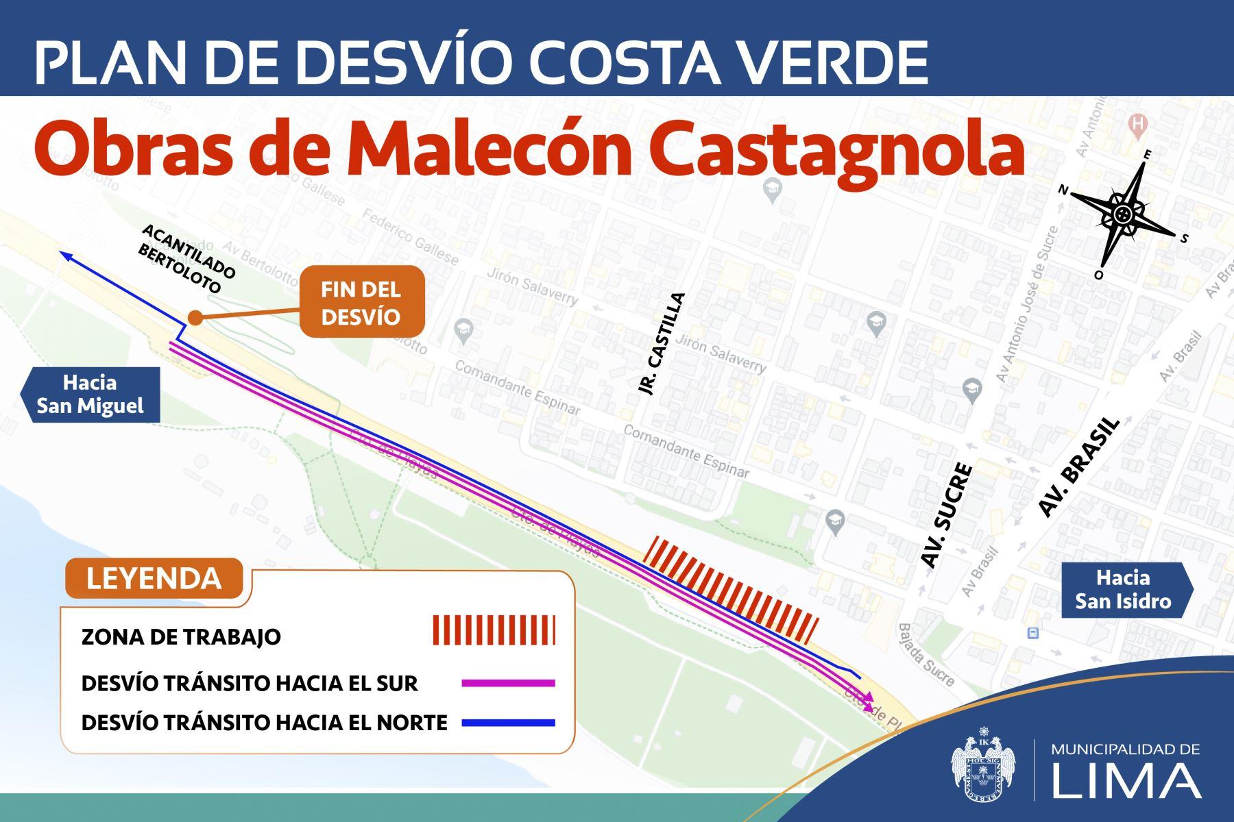 Debido a las labores mencionadas se procederá a la restricción vehicular en los tres carriles del sentido sur-norte en la mencionada vía, en un tramo de 500 metros de longitud. Foto: ANDINA/Municipalidad Metropolitana de Lima.