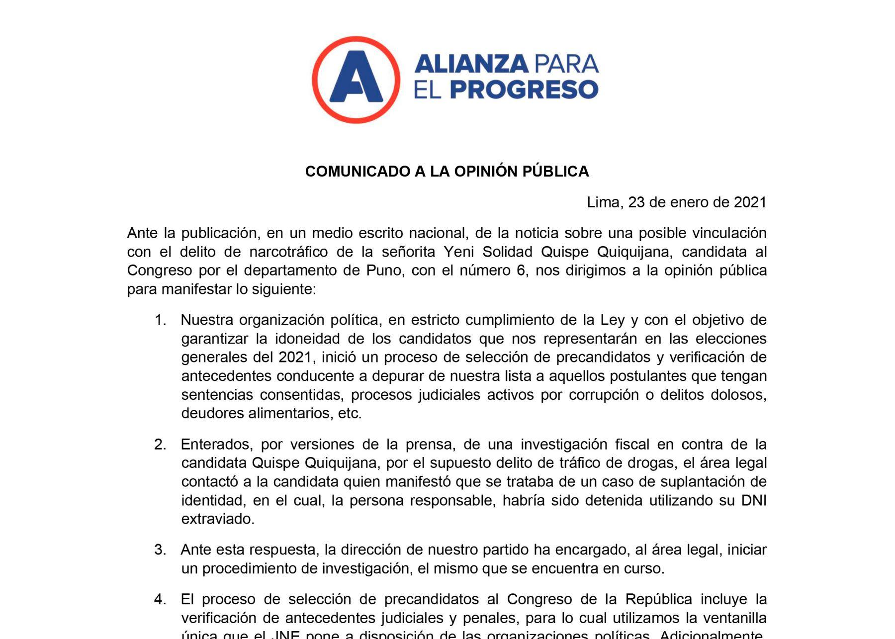 Comunicado de Alianza para el Progreso (APP).