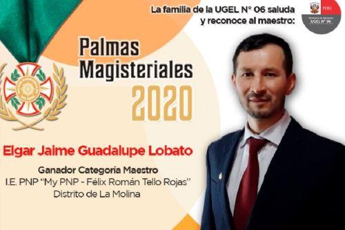 Jaime Guadalupe Lobato, profesor de secundaria y oriundo de la región Amazonas, ganador de las Palmas Magisteriales 2020 en la categoría Maestro. Foto: Facebook/Jaime Guadalupe Lobato